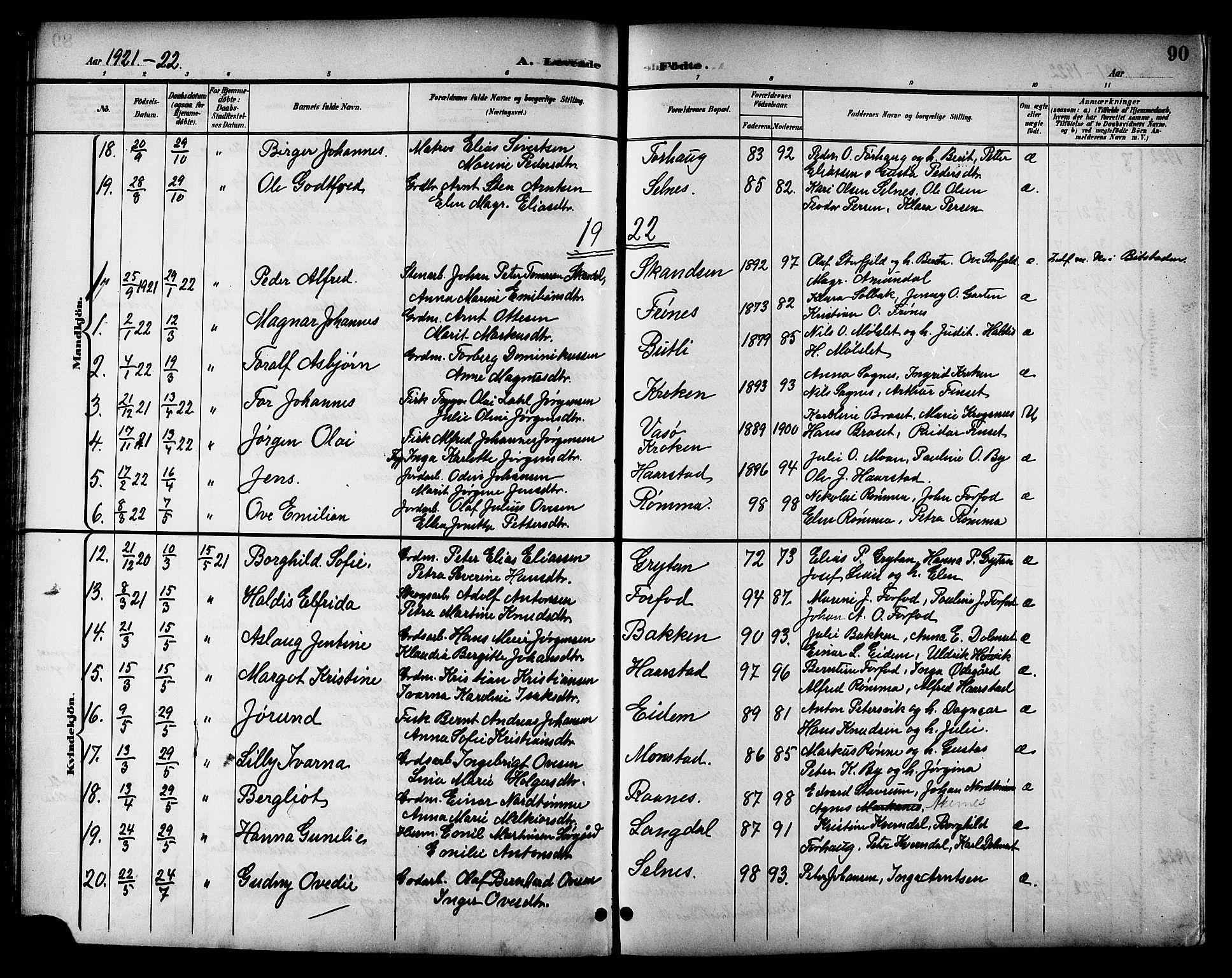 SAT, Ministerialprotokoller, klokkerbøker og fødselsregistre - Sør-Trøndelag, 655/L0688: Klokkerbok nr. 655C04, 1899-1922, s. 90