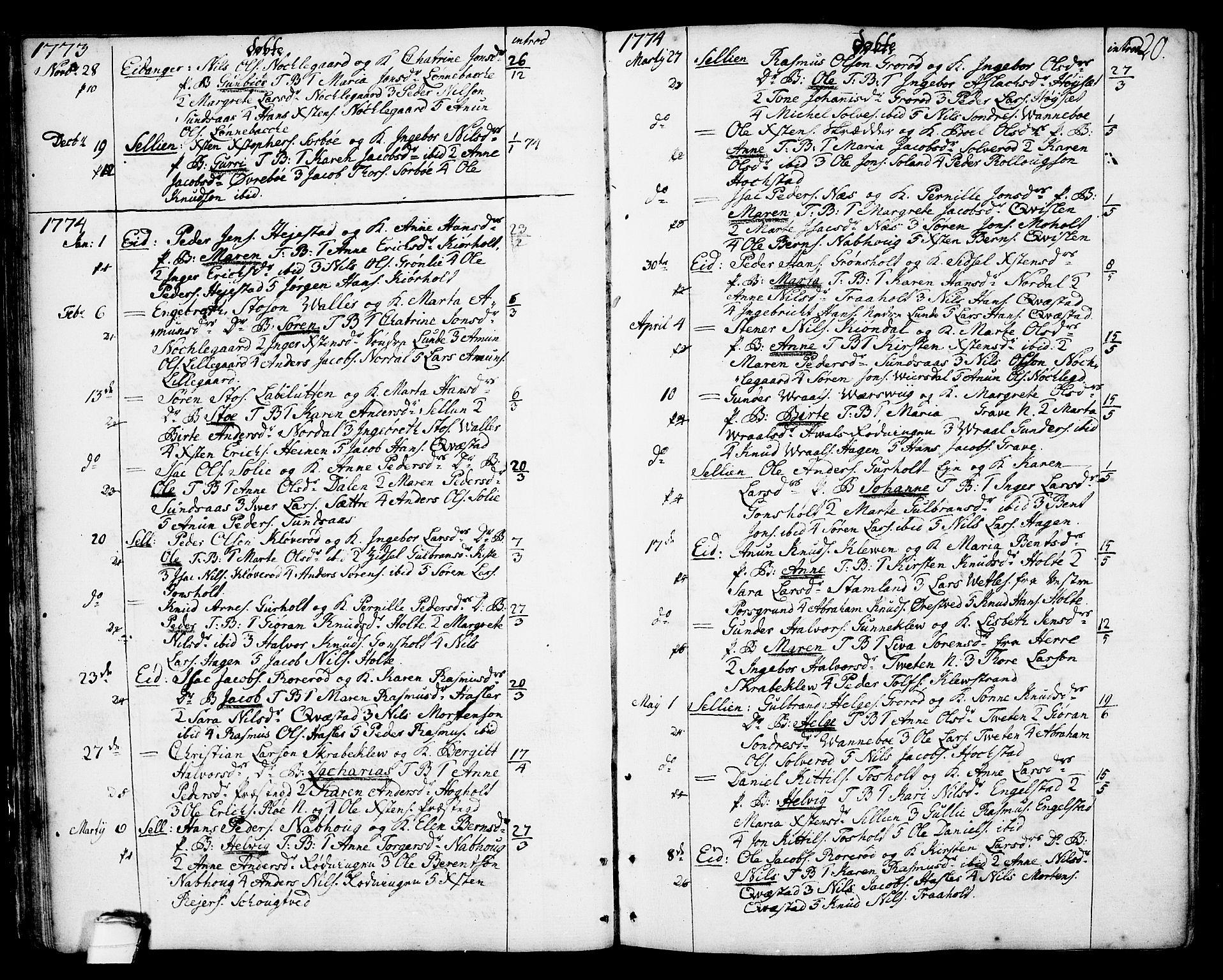 SAKO, Eidanger kirkebøker, F/Fa/L0006: Ministerialbok nr. 6, 1764-1814, s. 20