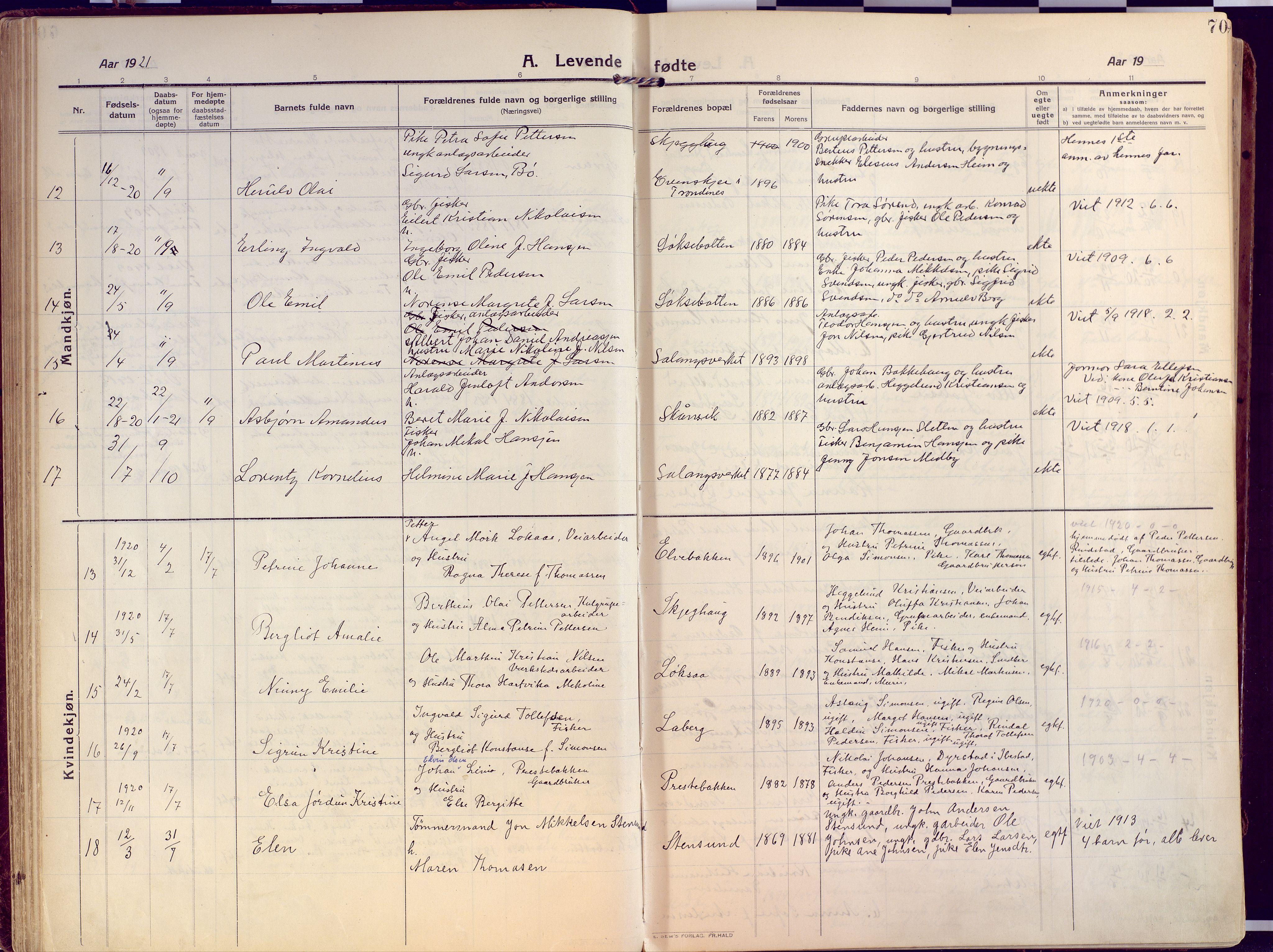 SATØ, Salangen sokneprestembete, H/Ha/L0004kirke: Ministerialbok nr. 4, 1912-1927, s. 70