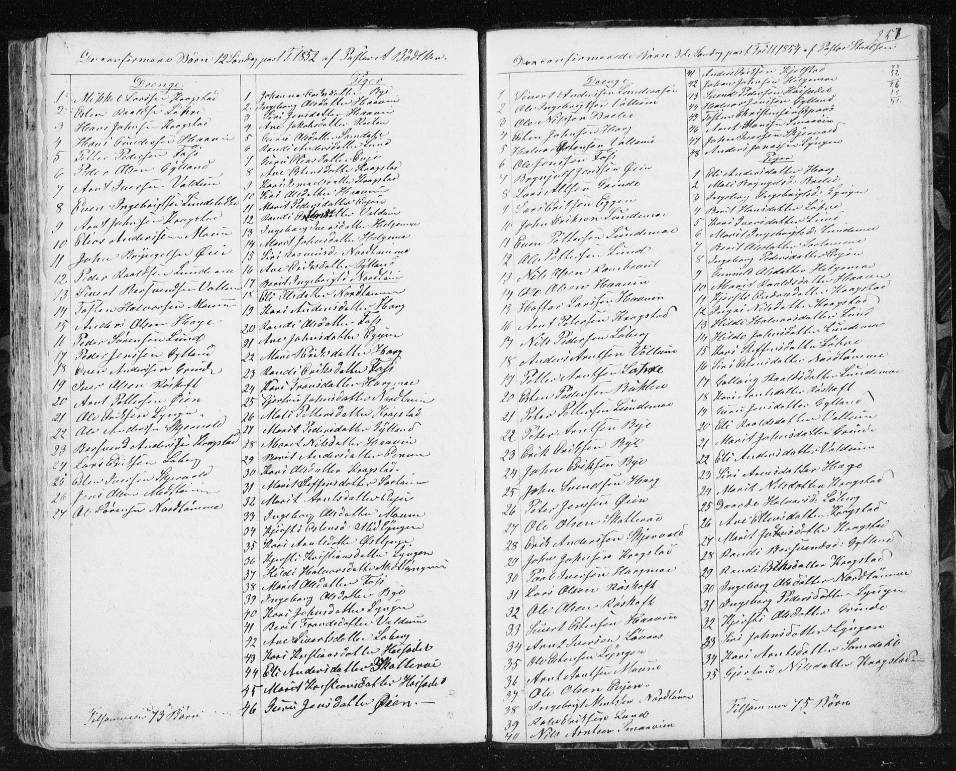 SAT, Ministerialprotokoller, klokkerbøker og fødselsregistre - Sør-Trøndelag, 692/L1110: Klokkerbok nr. 692C05, 1849-1889, s. 257