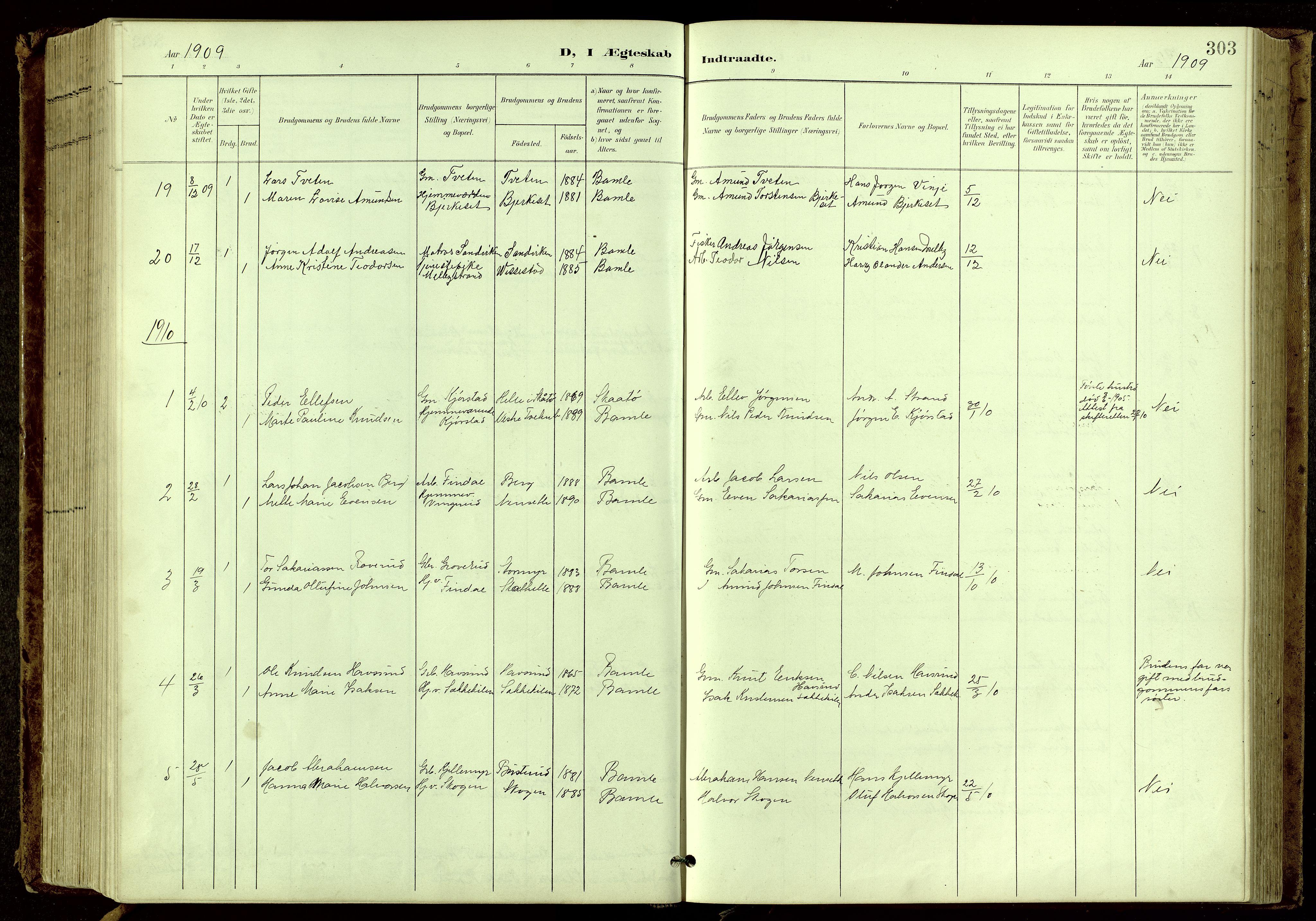 SAKO, Bamble kirkebøker, G/Ga/L0010: Klokkerbok nr. I 10, 1901-1919, s. 303
