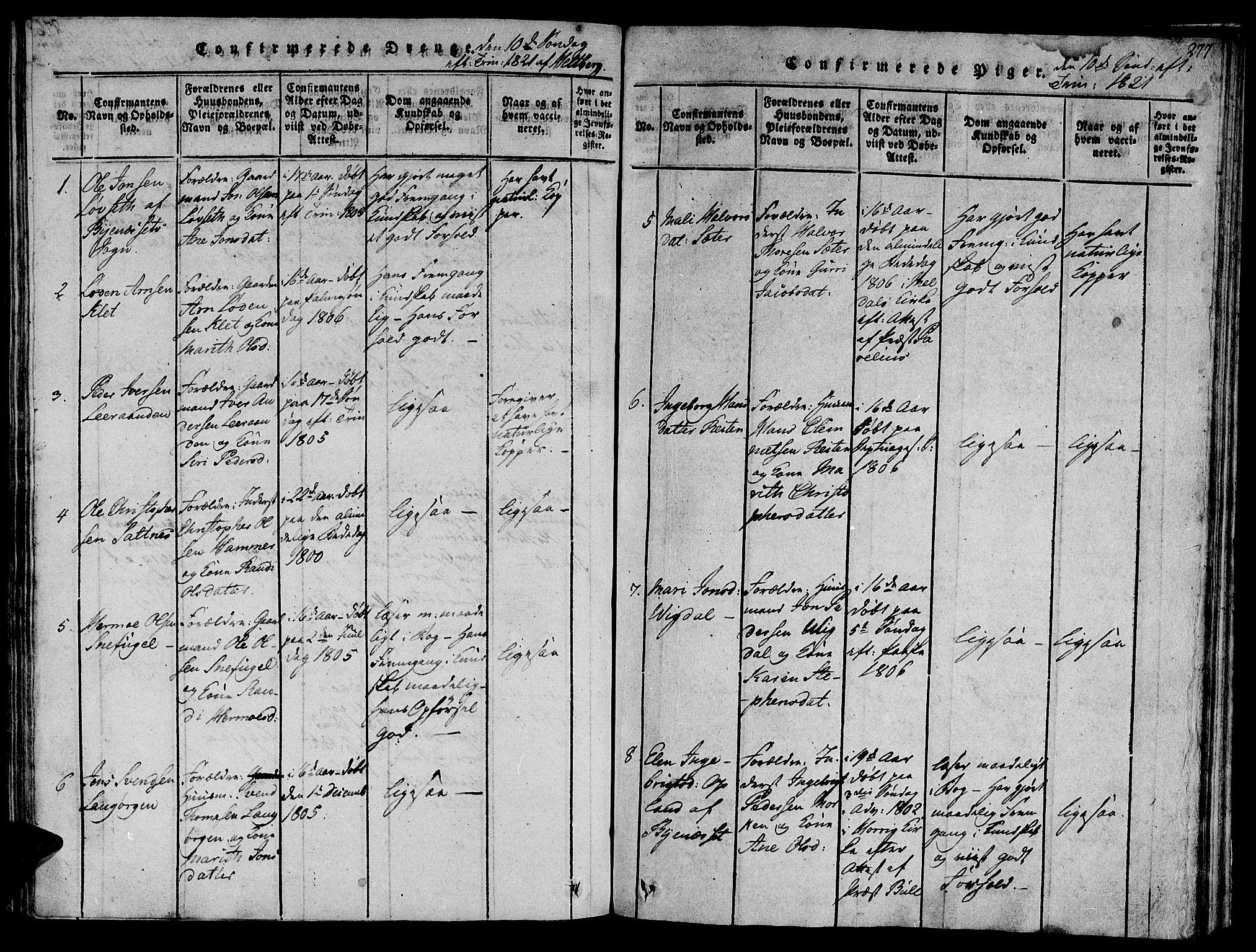 SAT, Ministerialprotokoller, klokkerbøker og fødselsregistre - Sør-Trøndelag, 612/L0373: Ministerialbok nr. 612A06 /2, 1816-1828, s. 277