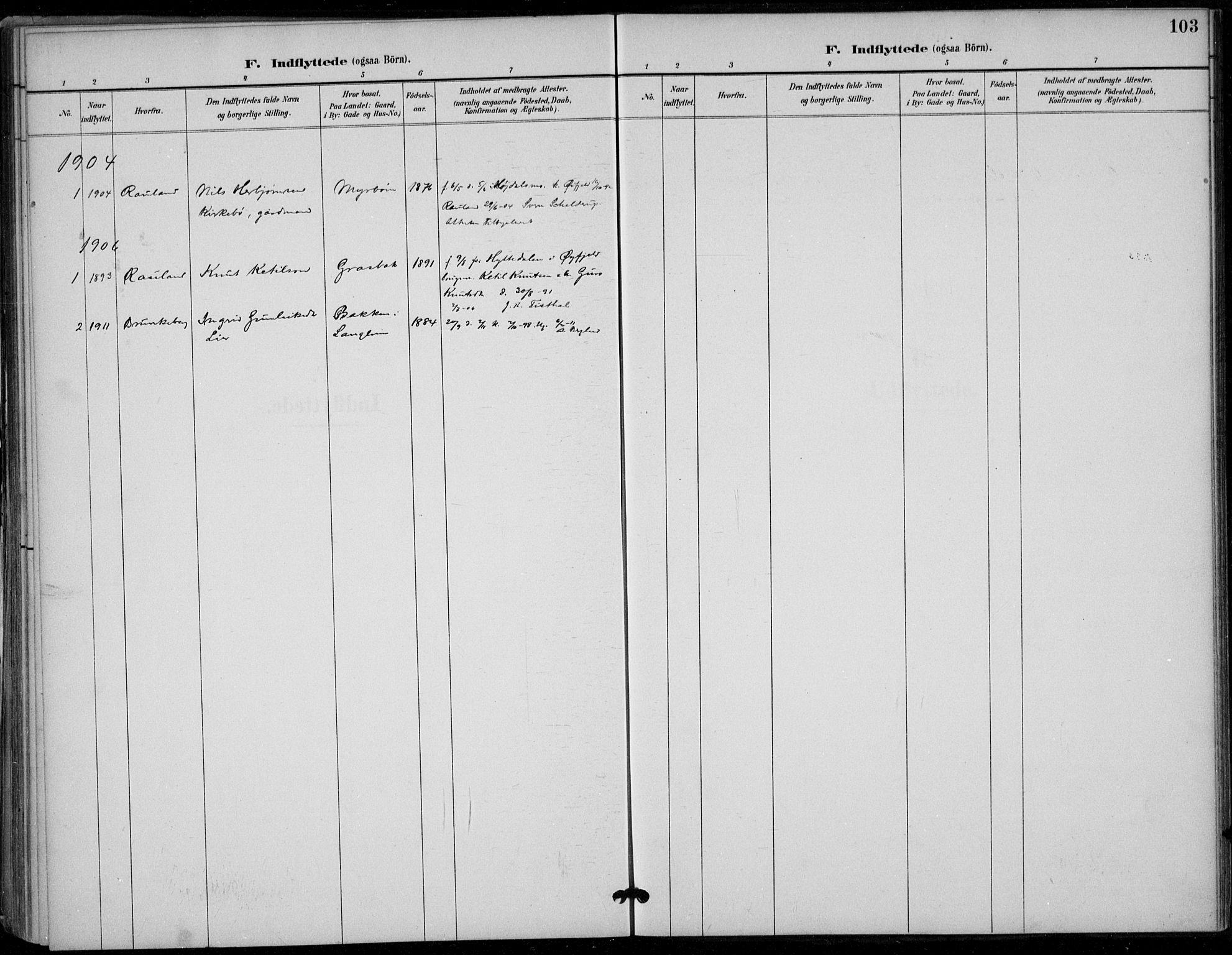 SAKO, Seljord kirkebøker, F/Fc/L0002: Ministerialbok nr. III 2, 1887-1920, s. 103