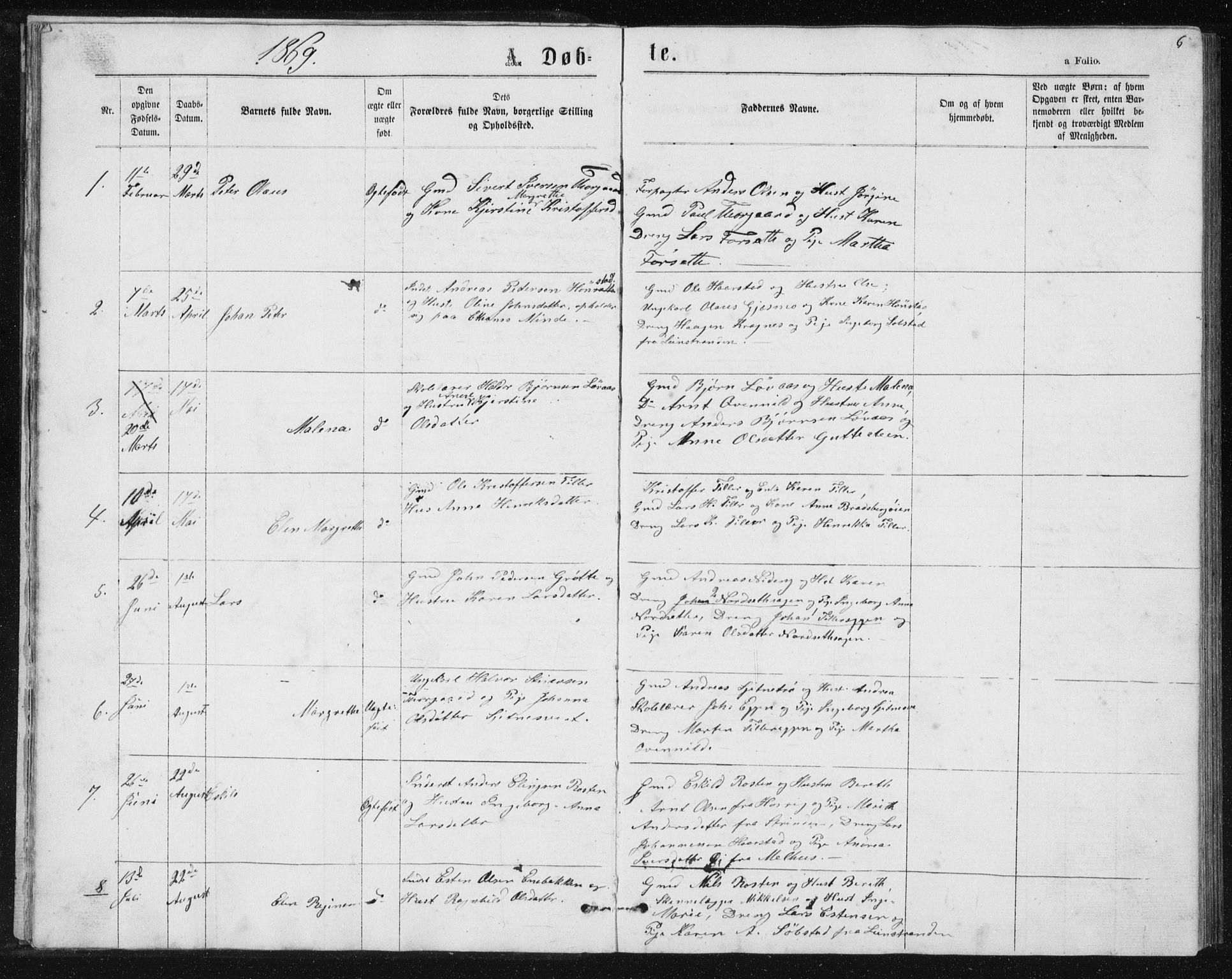 SAT, Ministerialprotokoller, klokkerbøker og fødselsregistre - Sør-Trøndelag, 621/L0459: Klokkerbok nr. 621C02, 1866-1895, s. 6