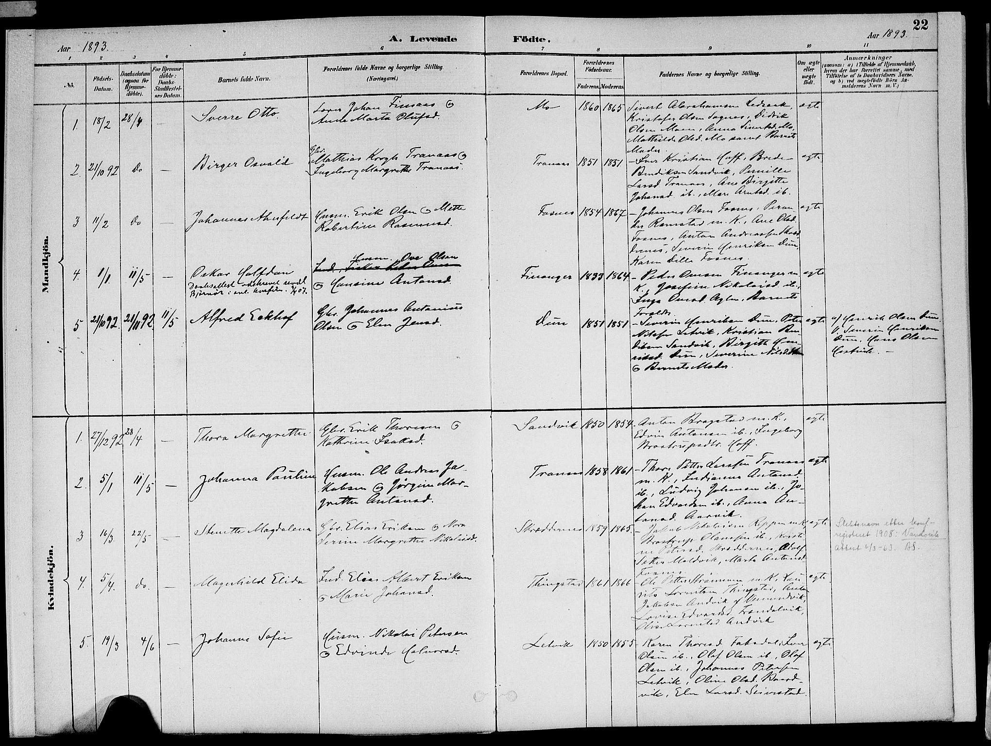 SAT, Ministerialprotokoller, klokkerbøker og fødselsregistre - Nord-Trøndelag, 773/L0617: Ministerialbok nr. 773A08, 1887-1910, s. 22