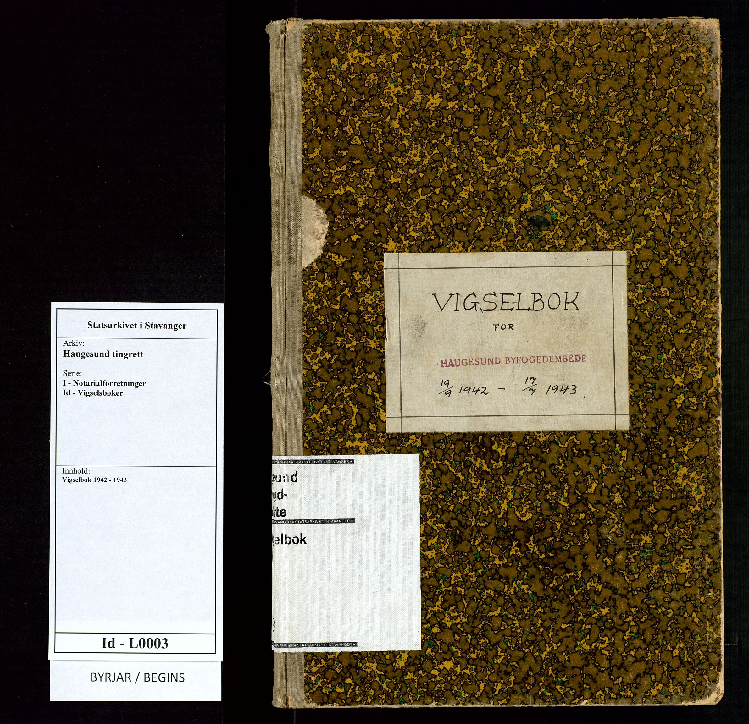 SAST, Haugesund tingrett, III/IIID/L0003: Vigselbok, 1942-1943, s. upaginert