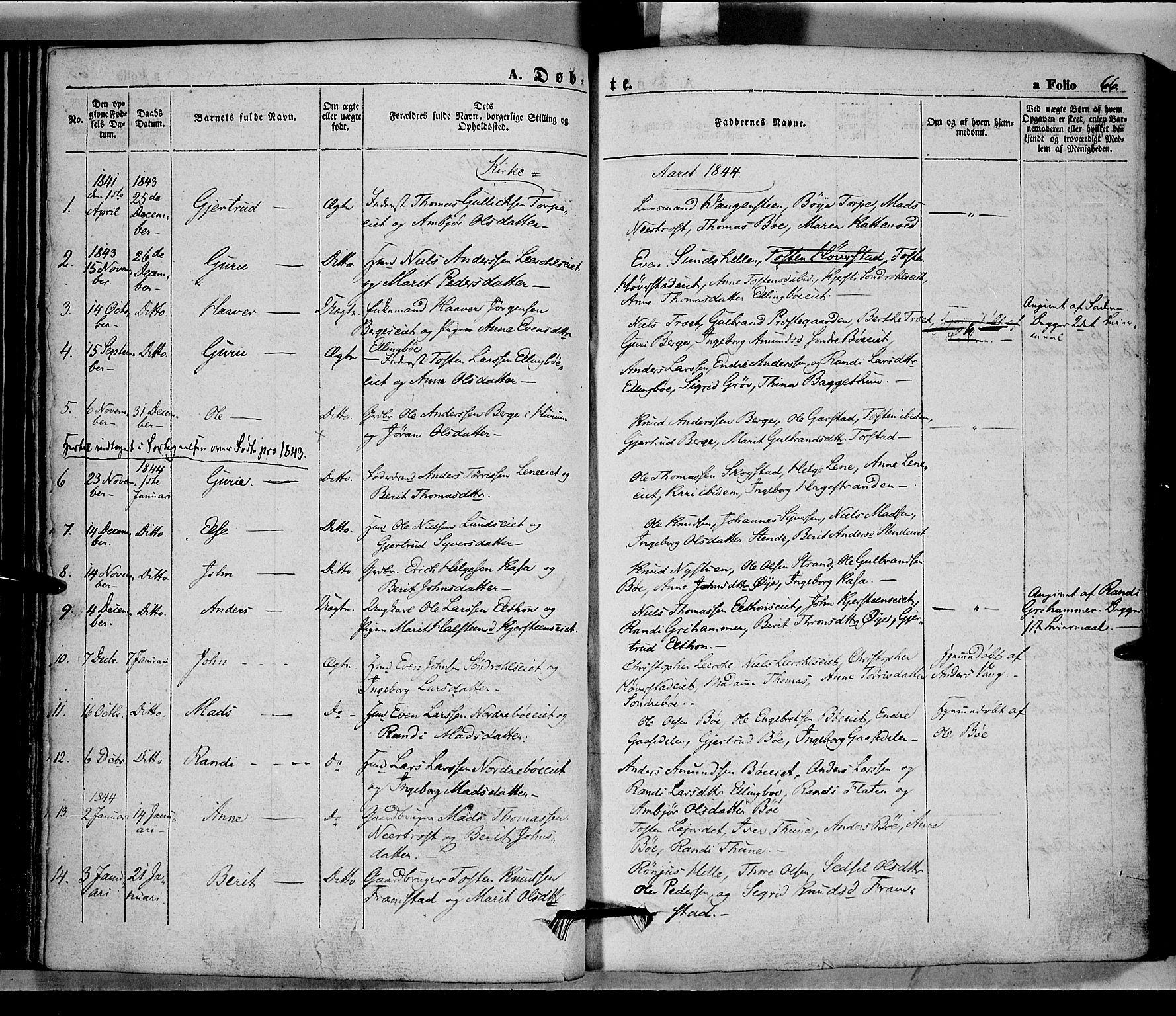 SAH, Vang prestekontor, Valdres, Ministerialbok nr. 5, 1831-1845, s. 66