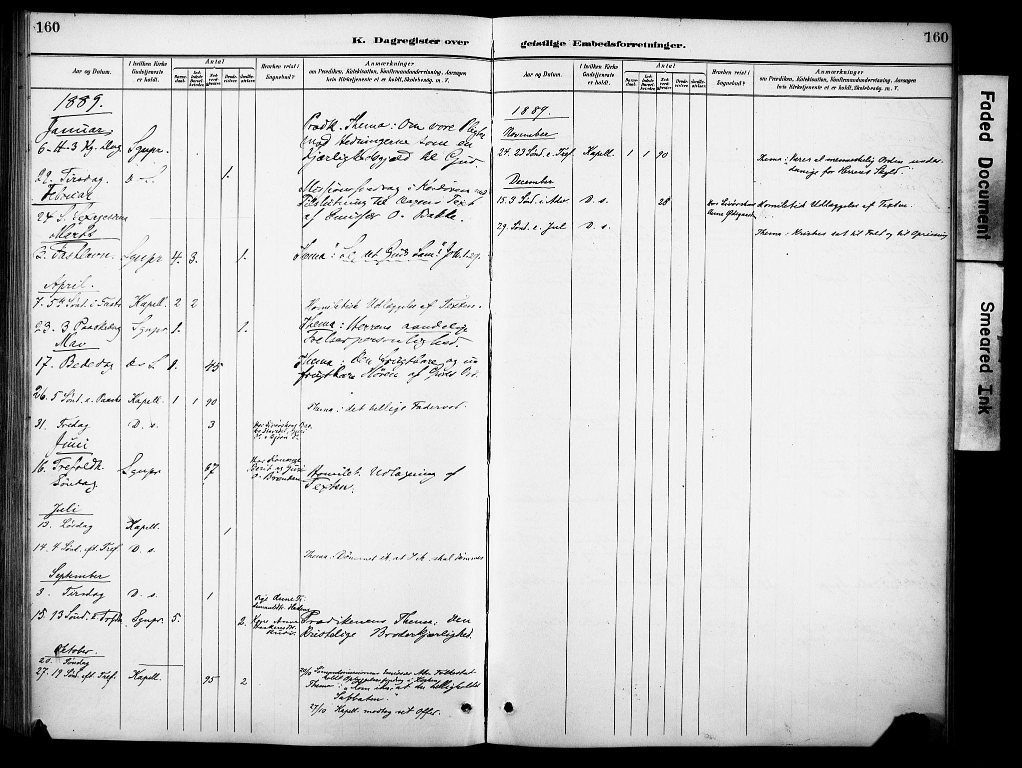 SAH, Sør-Aurdal prestekontor, Ministerialbok nr. 10, 1886-1906, s. 160
