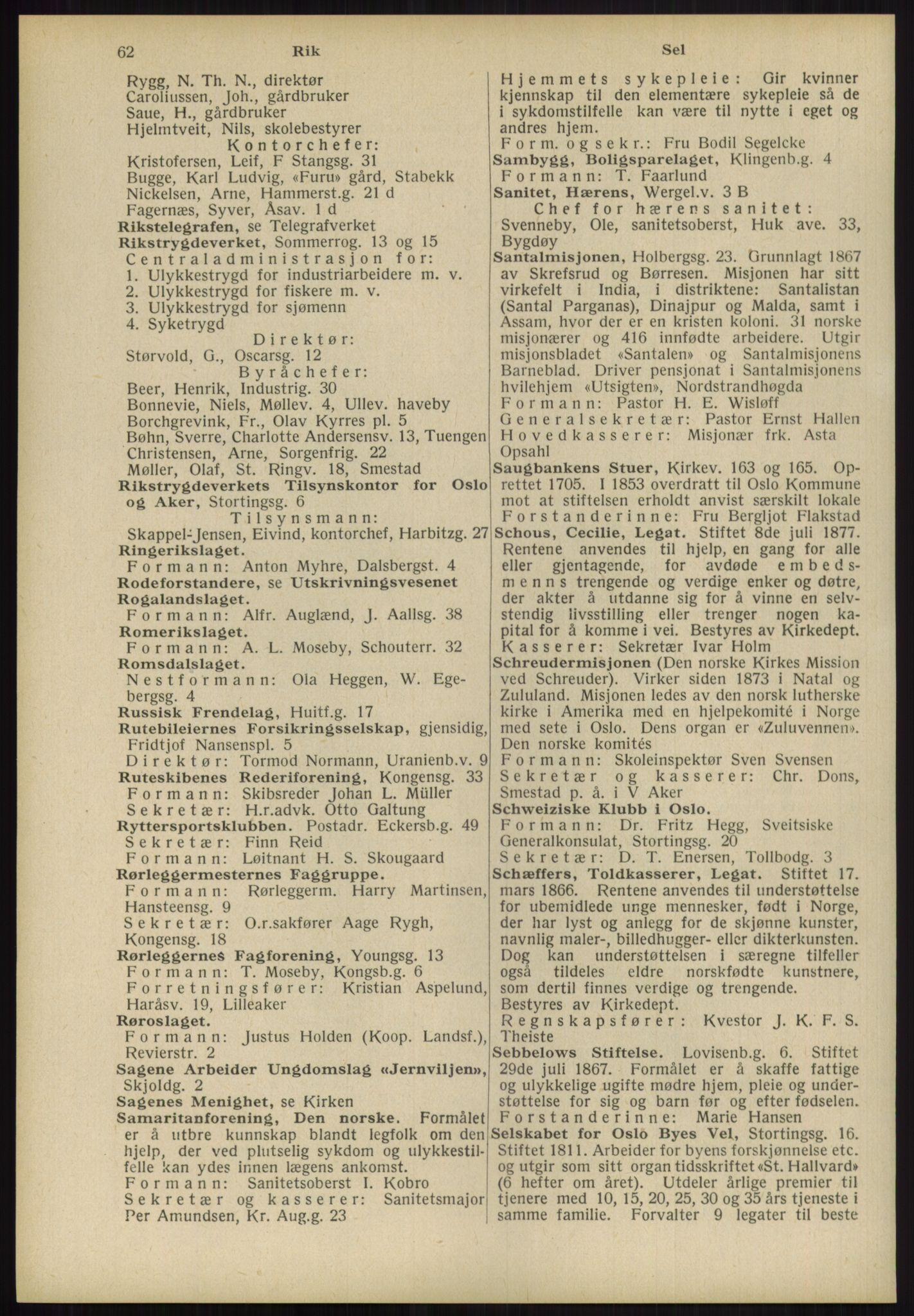 RA, Oslo adressebok (publikasjon)*, 1939, s. 62