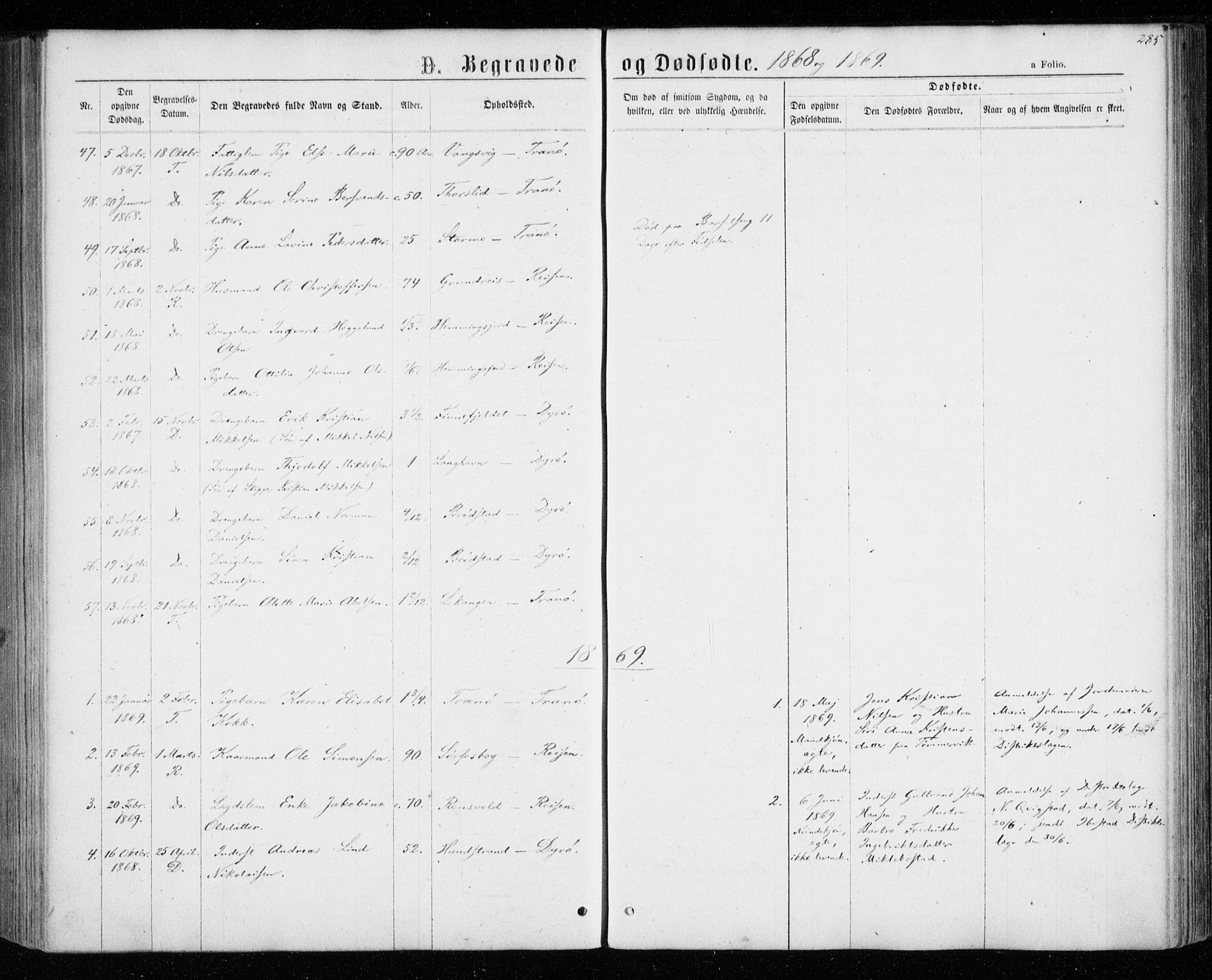 SATØ, Tranøy sokneprestkontor, I/Ia/Iaa/L0008kirke: Ministerialbok nr. 8, 1867-1877, s. 285