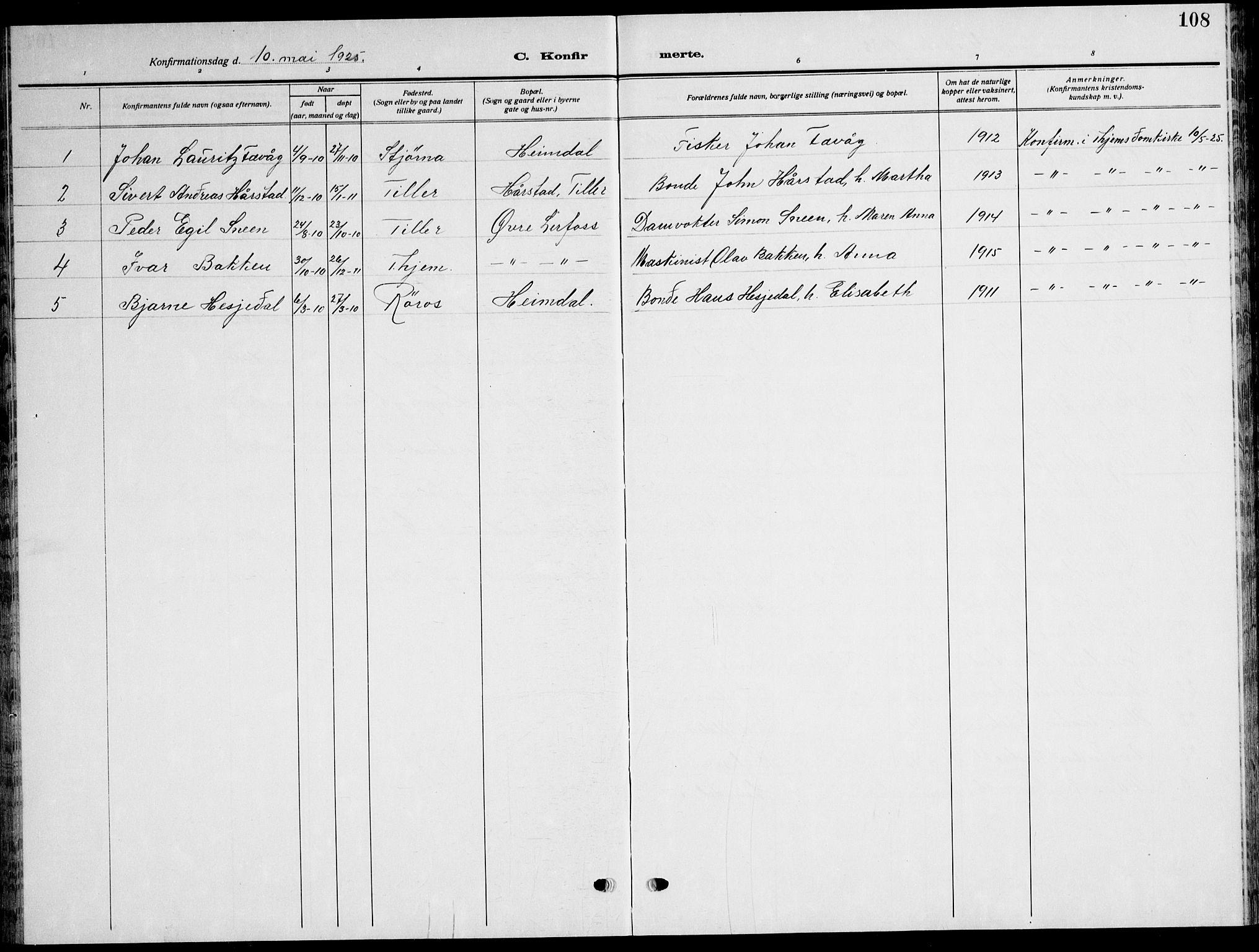 SAT, Ministerialprotokoller, klokkerbøker og fødselsregistre - Sør-Trøndelag, 621/L0462: Klokkerbok nr. 621C05, 1915-1945, s. 108