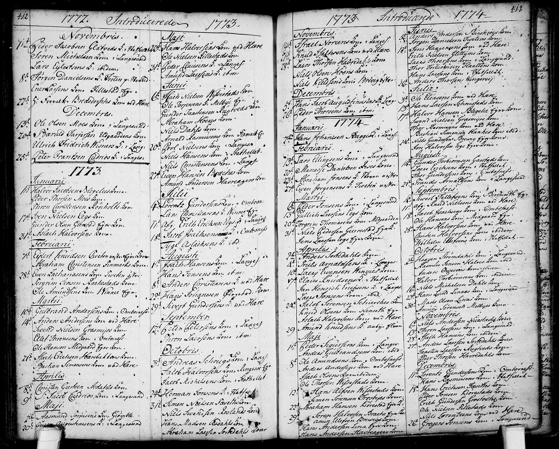 SAKO, Bamble kirkebøker, F/Fa/L0001: Ministerialbok nr. I 1, 1702-1774, s. 412-413