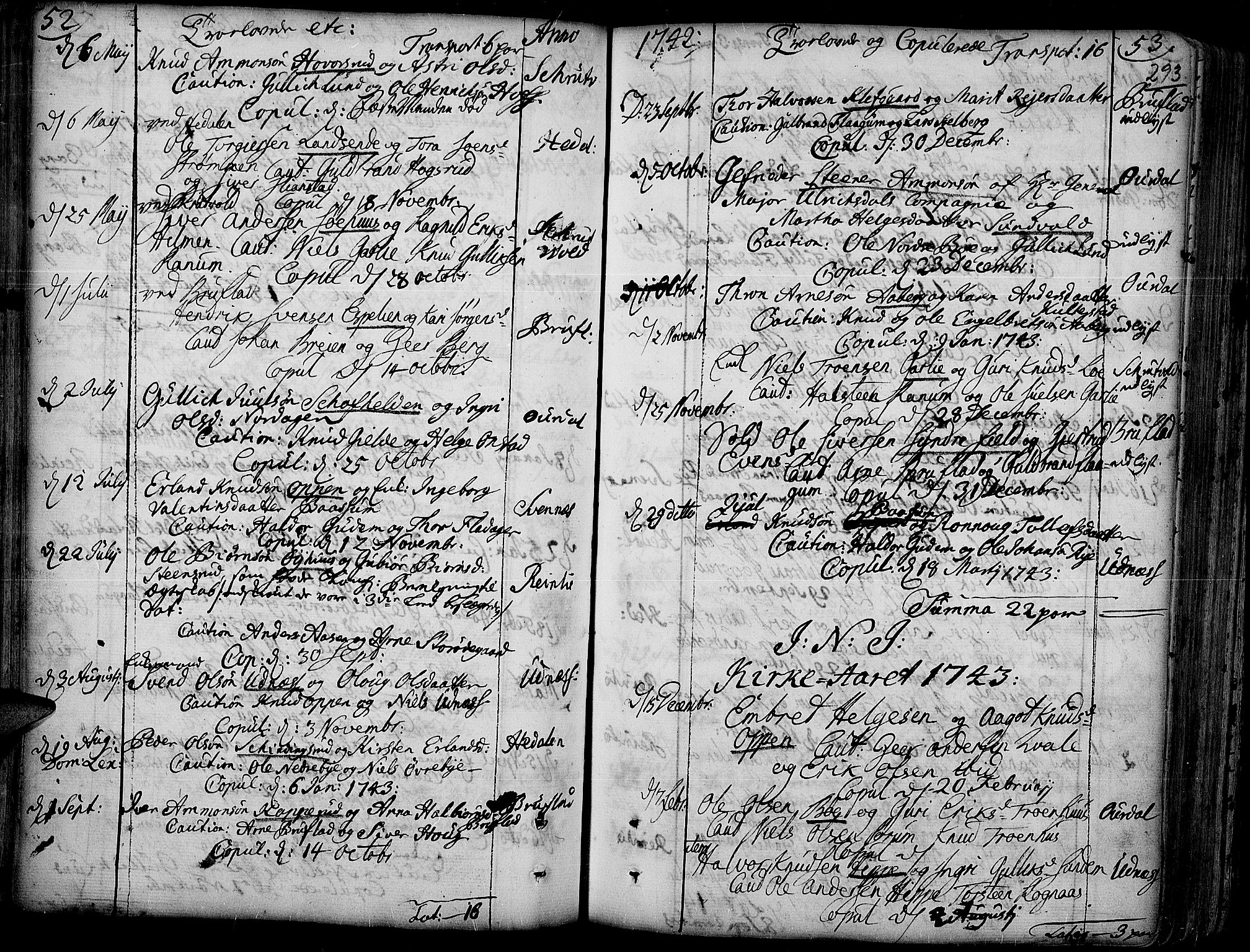 SAH, Aurdal prestekontor, Ministerialbok nr. 4, 1730-1762, s. 52-53