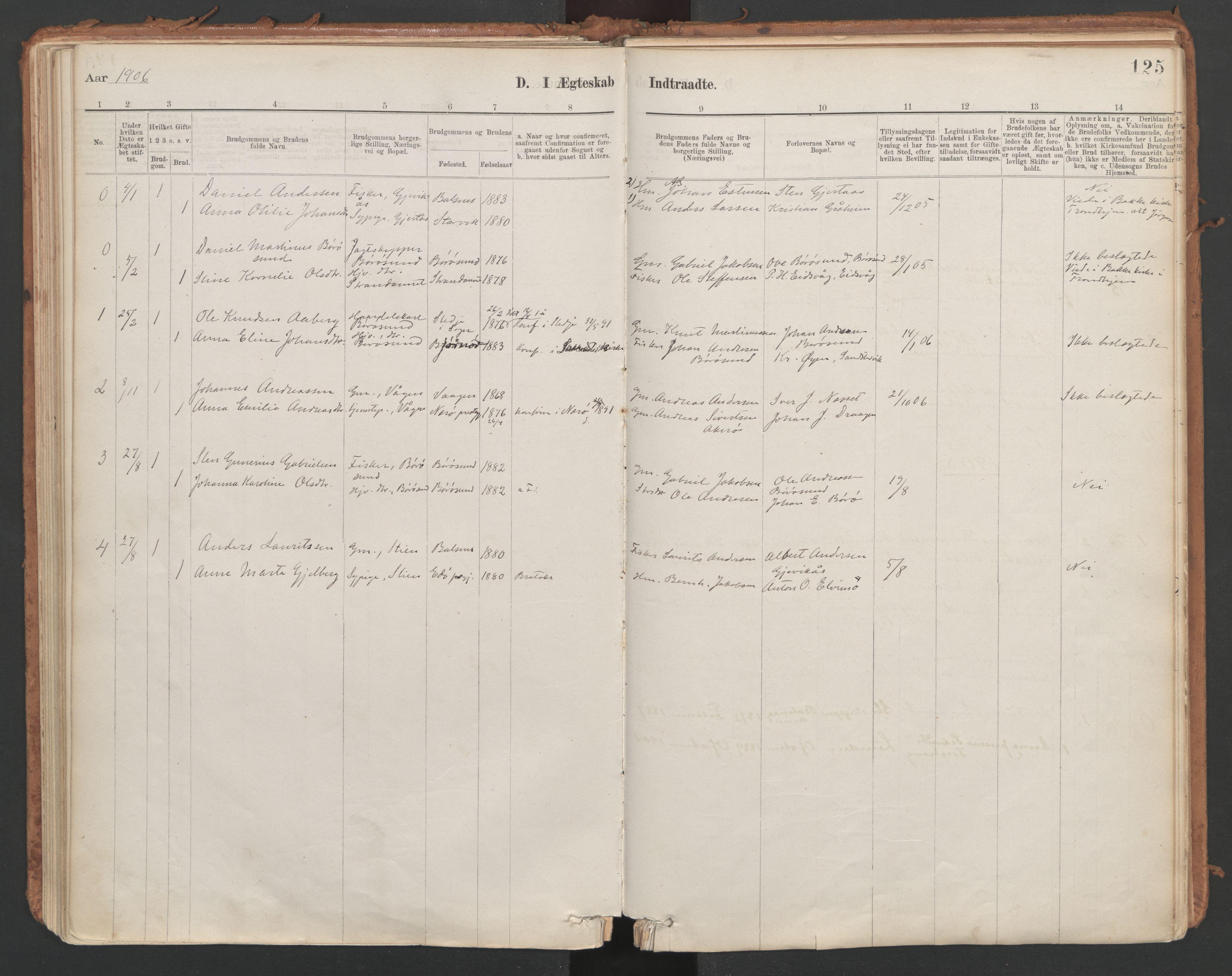 SAT, Ministerialprotokoller, klokkerbøker og fødselsregistre - Sør-Trøndelag, 639/L0572: Ministerialbok nr. 639A01, 1890-1920, s. 125