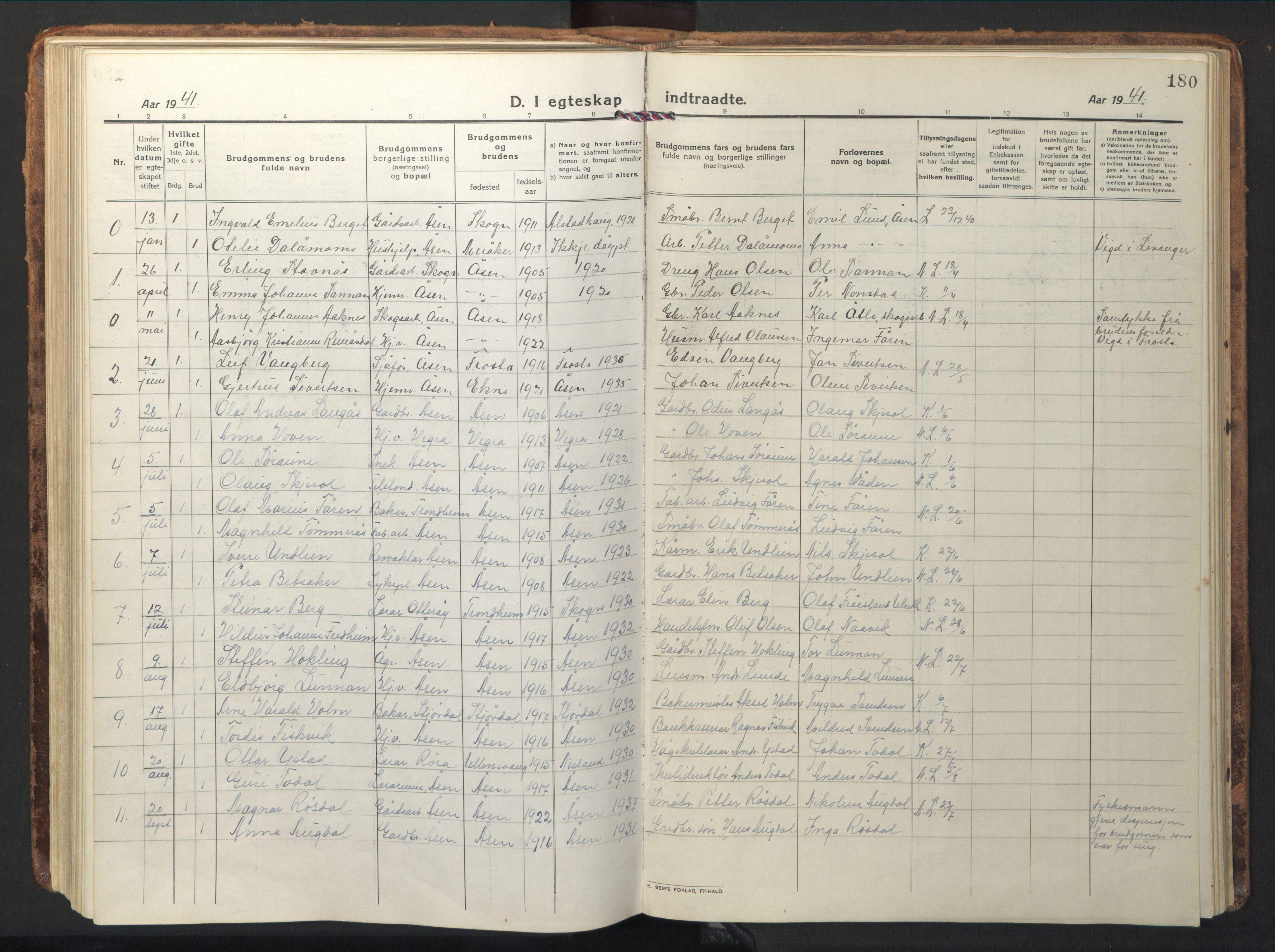 SAT, Ministerialprotokoller, klokkerbøker og fødselsregistre - Nord-Trøndelag, 714/L0136: Klokkerbok nr. 714C05, 1918-1957, s. 180