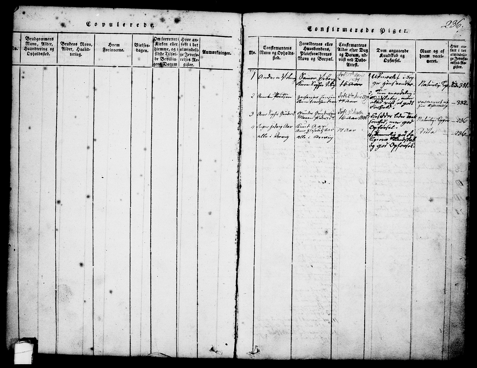 SAKO, Brevik kirkebøker, G/Ga/L0001: Klokkerbok nr. 1, 1814-1845, s. 236