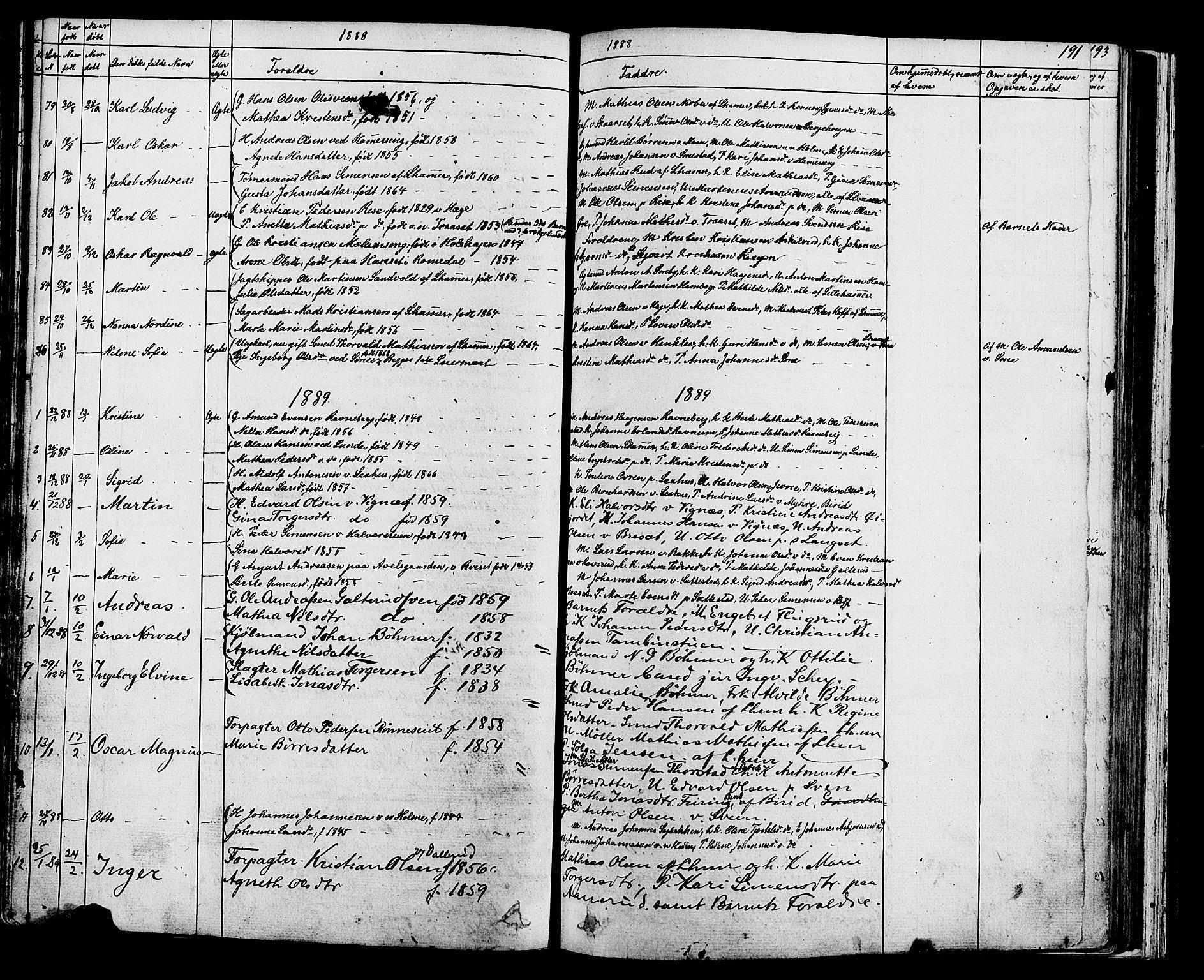 SAH, Fåberg prestekontor, Klokkerbok nr. 7, 1856-1891, s. 190-191