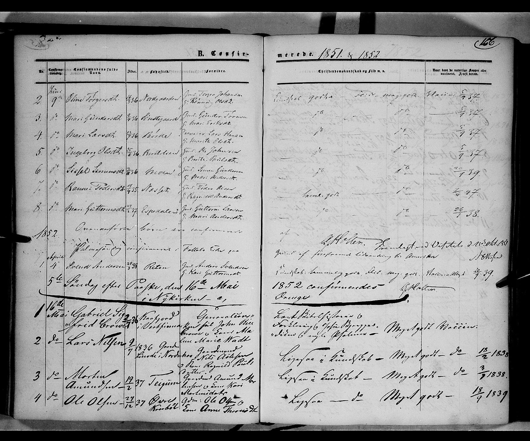 SAH, Gausdal prestekontor, Ministerialbok nr. 8, 1850-1861, s. 166