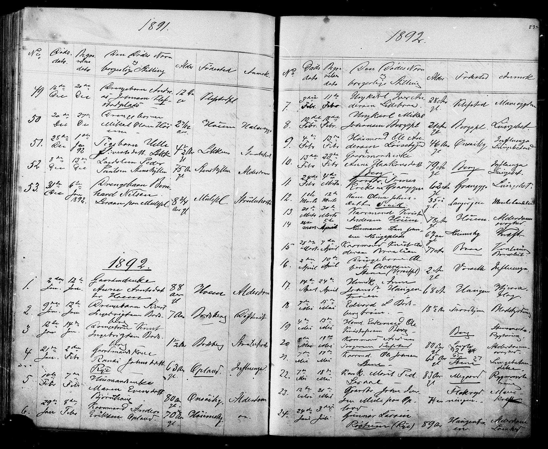 SAT, Ministerialprotokoller, klokkerbøker og fødselsregistre - Sør-Trøndelag, 612/L0387: Klokkerbok nr. 612C03, 1874-1908, s. 232