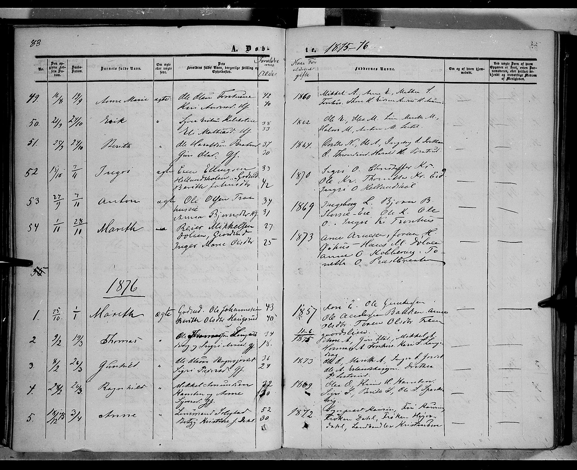 SAH, Sør-Aurdal prestekontor, Ministerialbok nr. 5, 1849-1876, s. 83