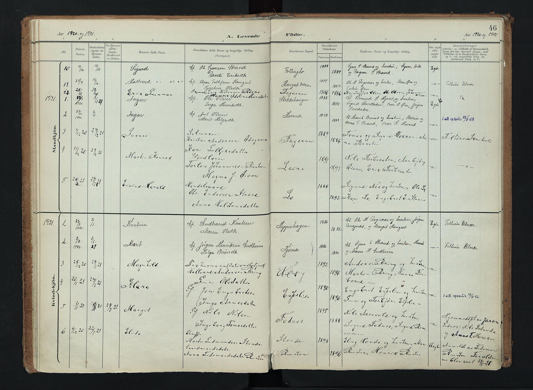 SAH, Nord-Aurdal prestekontor, Ministerialbok nr. 16, 1897-1925, s. 46