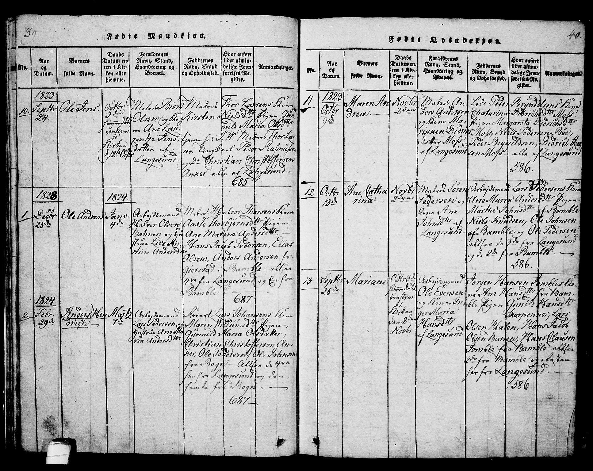 SAKO, Langesund kirkebøker, G/Ga/L0003: Klokkerbok nr. 3, 1815-1858, s. 39-40