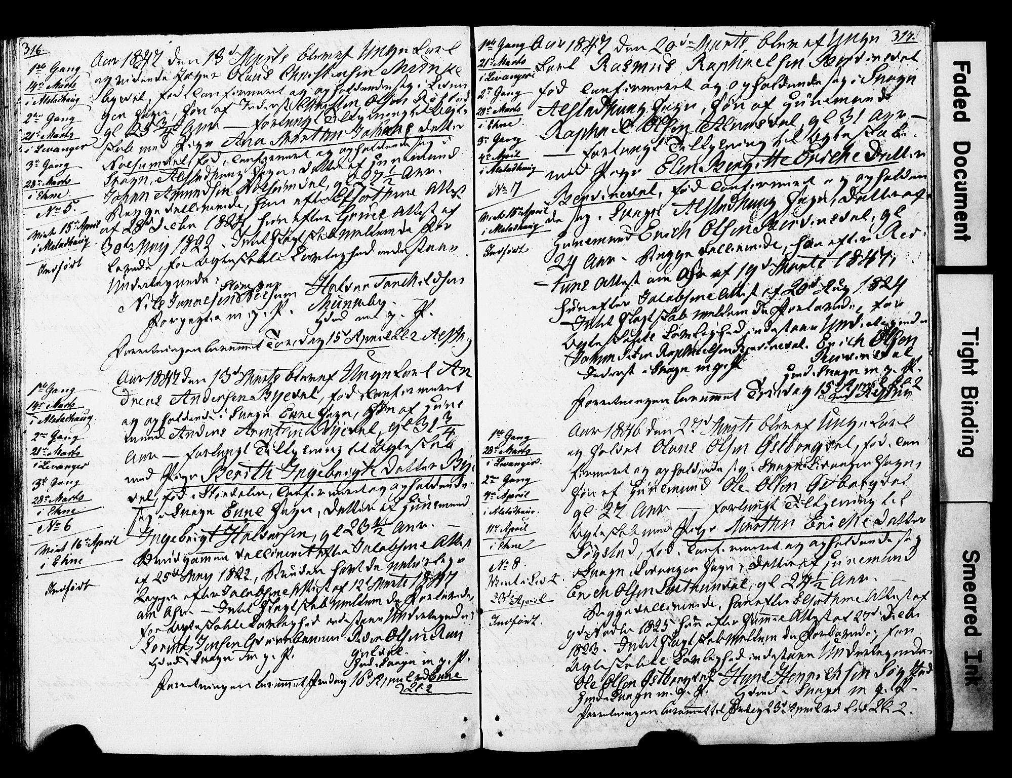 SAT, Ministerialprotokoller, klokkerbøker og fødselsregistre - Nord-Trøndelag, 717/L0160: Forlovererklæringer nr. 717A10, 1828-1850, s. 316-317