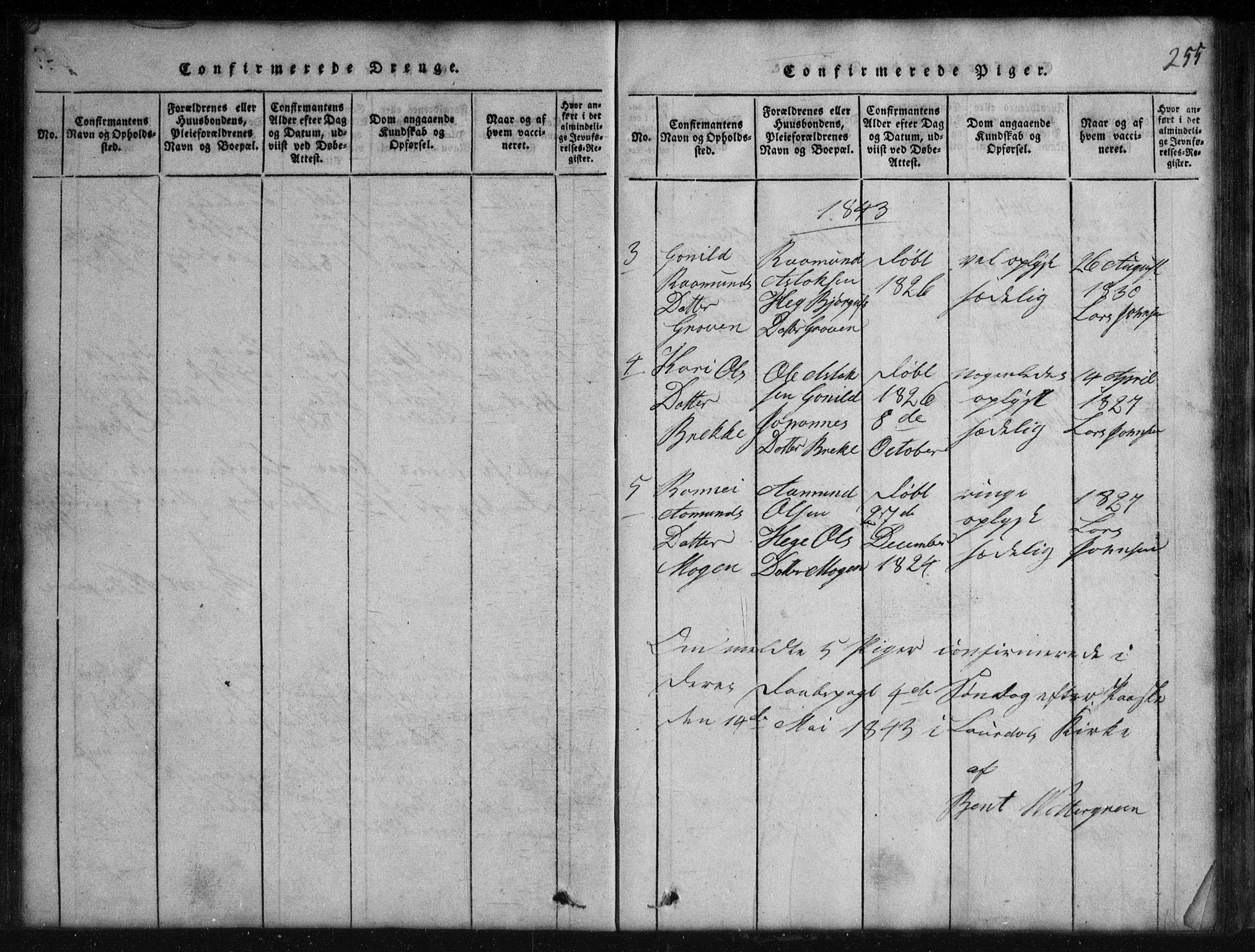SAKO, Rauland kirkebøker, G/Gb/L0001: Klokkerbok nr. II 1, 1815-1886, s. 255