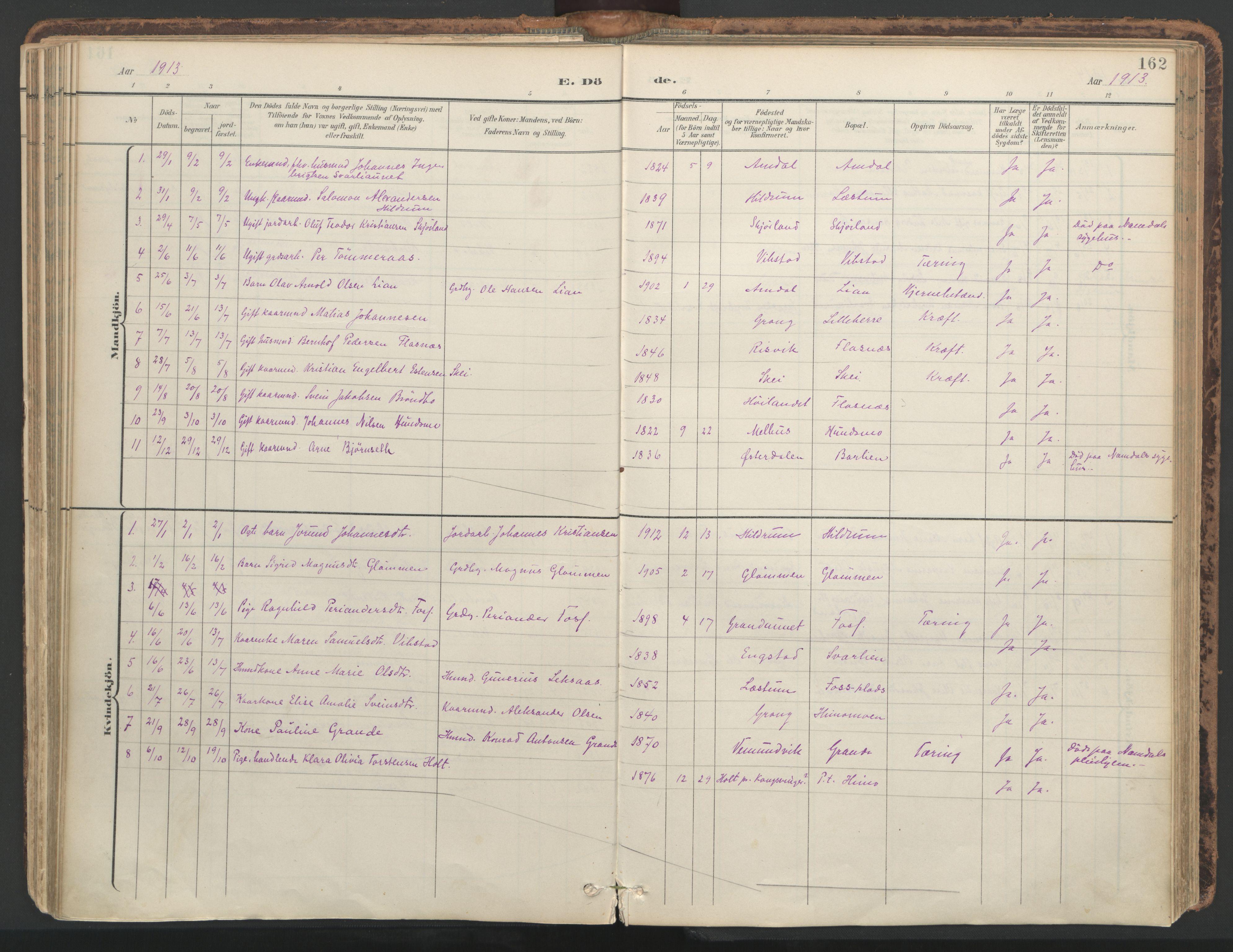 SAT, Ministerialprotokoller, klokkerbøker og fødselsregistre - Nord-Trøndelag, 764/L0556: Ministerialbok nr. 764A11, 1897-1924, s. 162