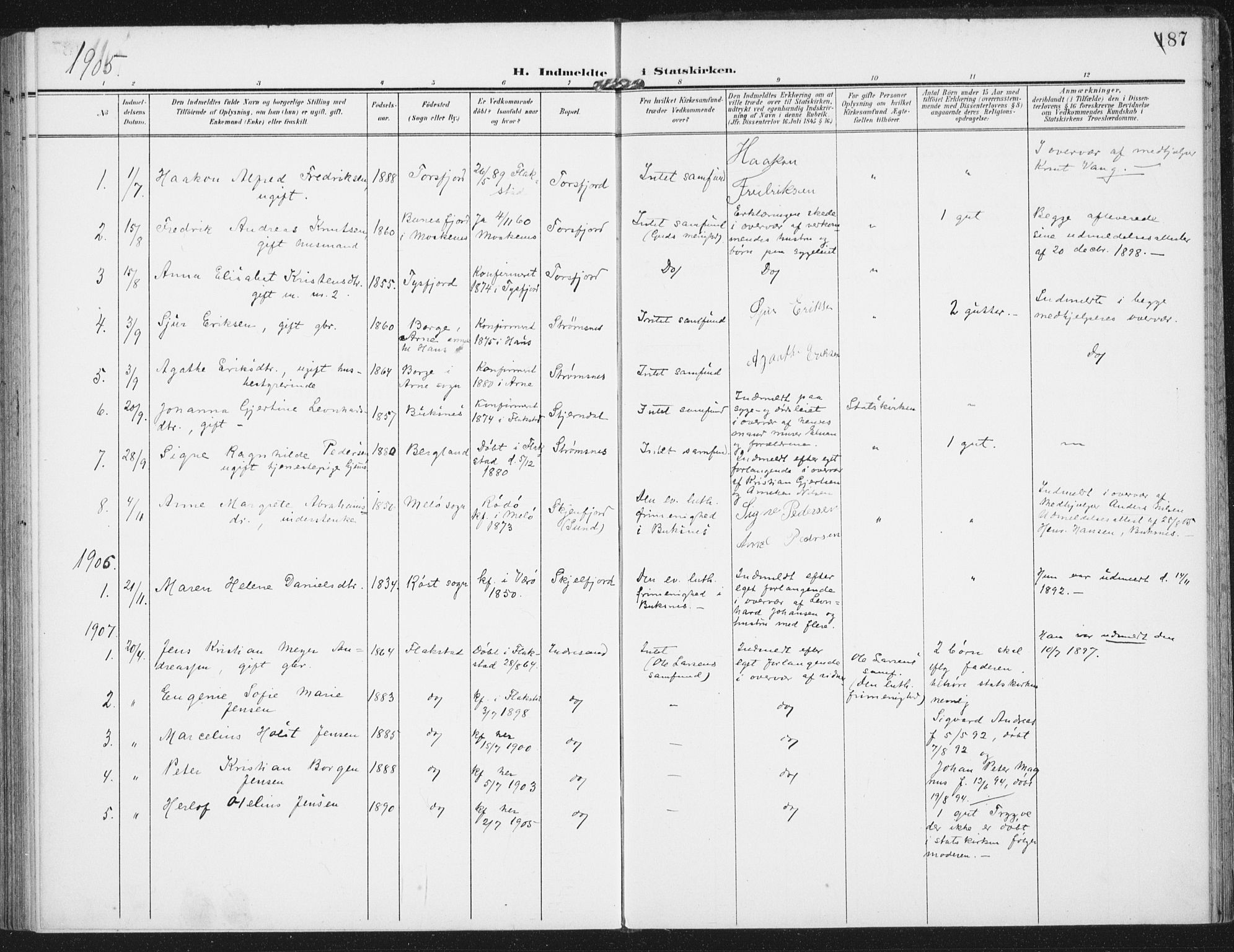 SAT, Ministerialprotokoller, klokkerbøker og fødselsregistre - Nordland, 885/L1206: Ministerialbok nr. 885A07, 1905-1915, s. 187