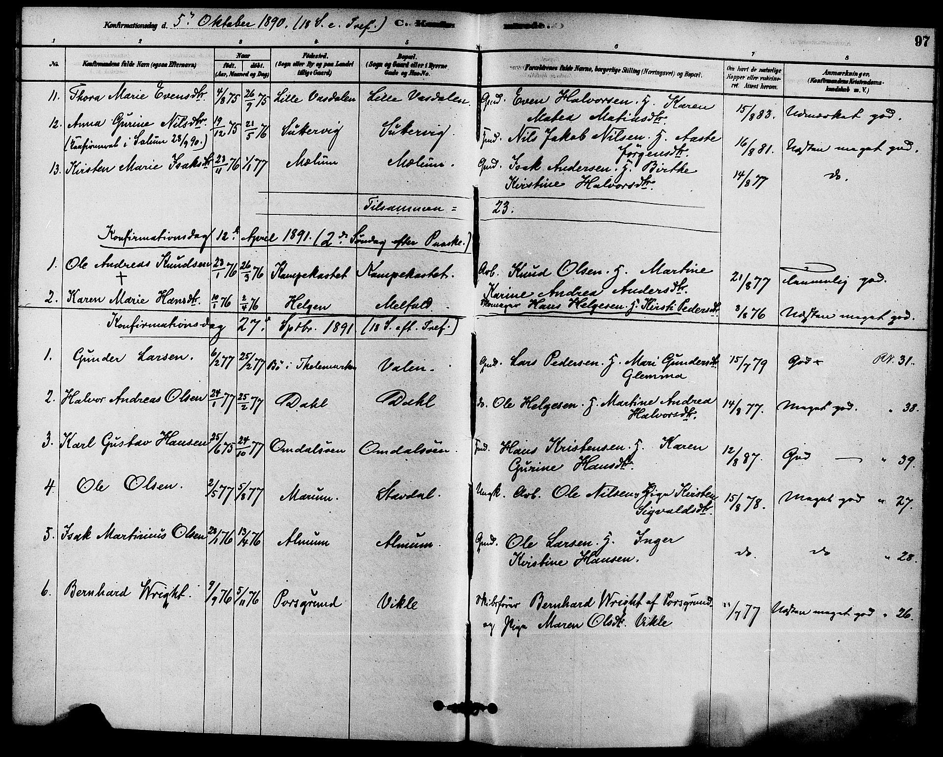 SAKO, Solum kirkebøker, F/Fb/L0001: Ministerialbok nr. II 1, 1877-1892, s. 97