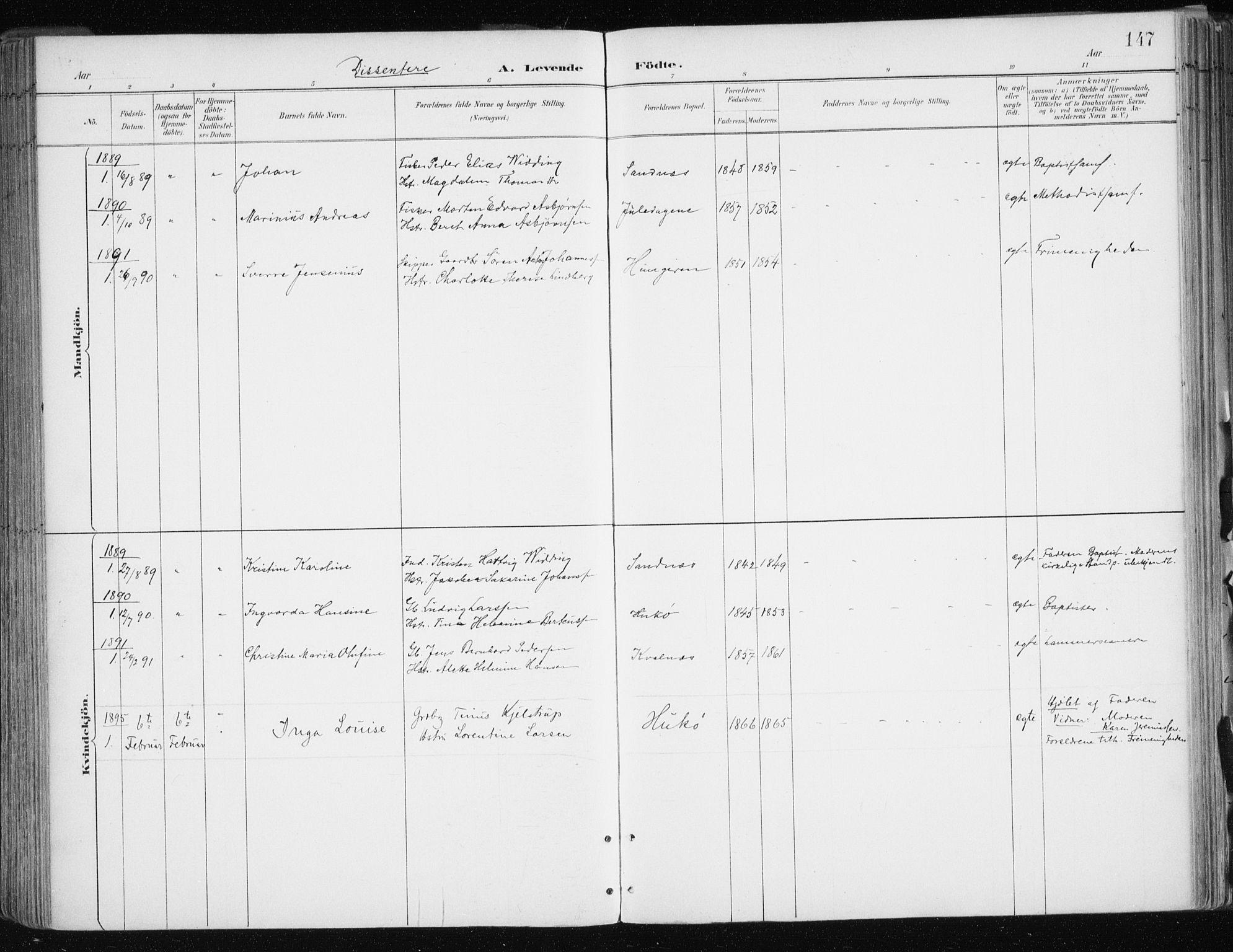SATØ, Tromsøysund sokneprestkontor, G/Ga/L0005kirke: Ministerialbok nr. 5, 1888-1896, s. 147