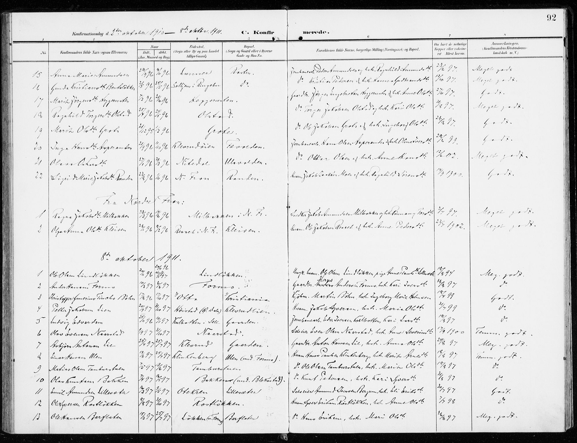 SAH, Sel prestekontor, Ministerialbok nr. 2, 1905-1919, s. 92