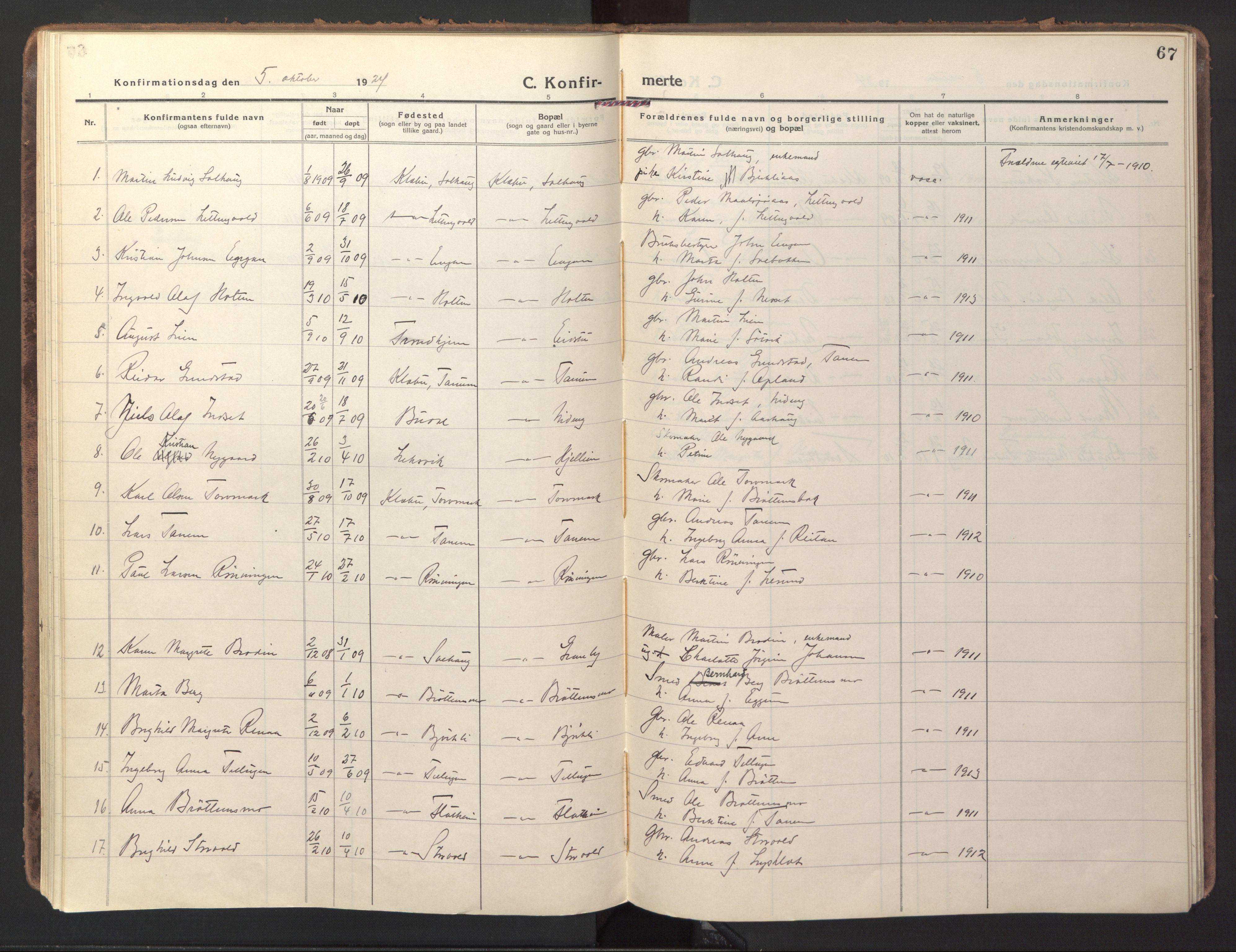 SAT, Ministerialprotokoller, klokkerbøker og fødselsregistre - Sør-Trøndelag, 618/L0449: Ministerialbok nr. 618A12, 1917-1924, s. 67