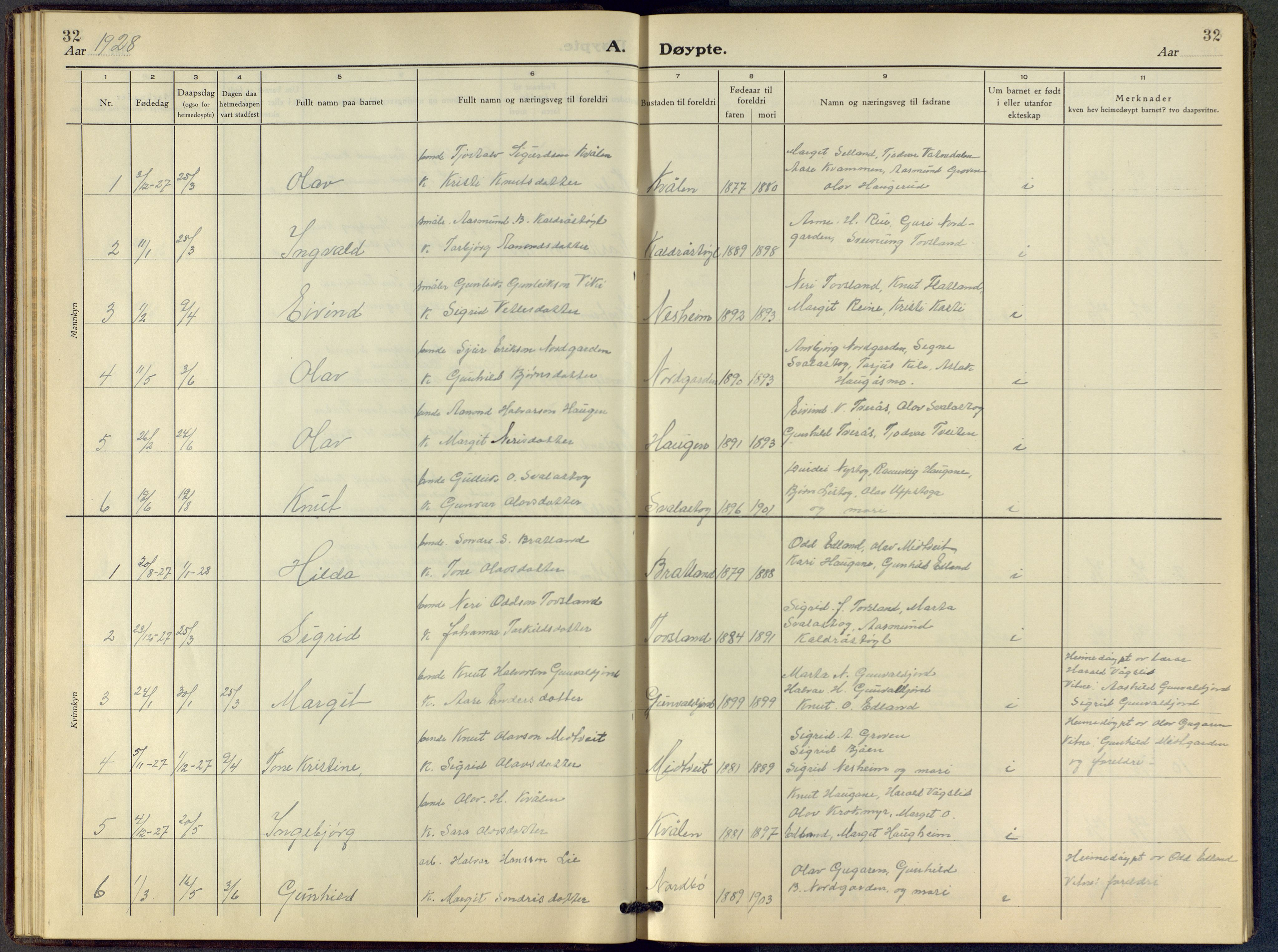 SAKO, Vinje kirkebøker, F/Fc/L0001: Ministerialbok nr. III 1, 1921-1943, s. 32