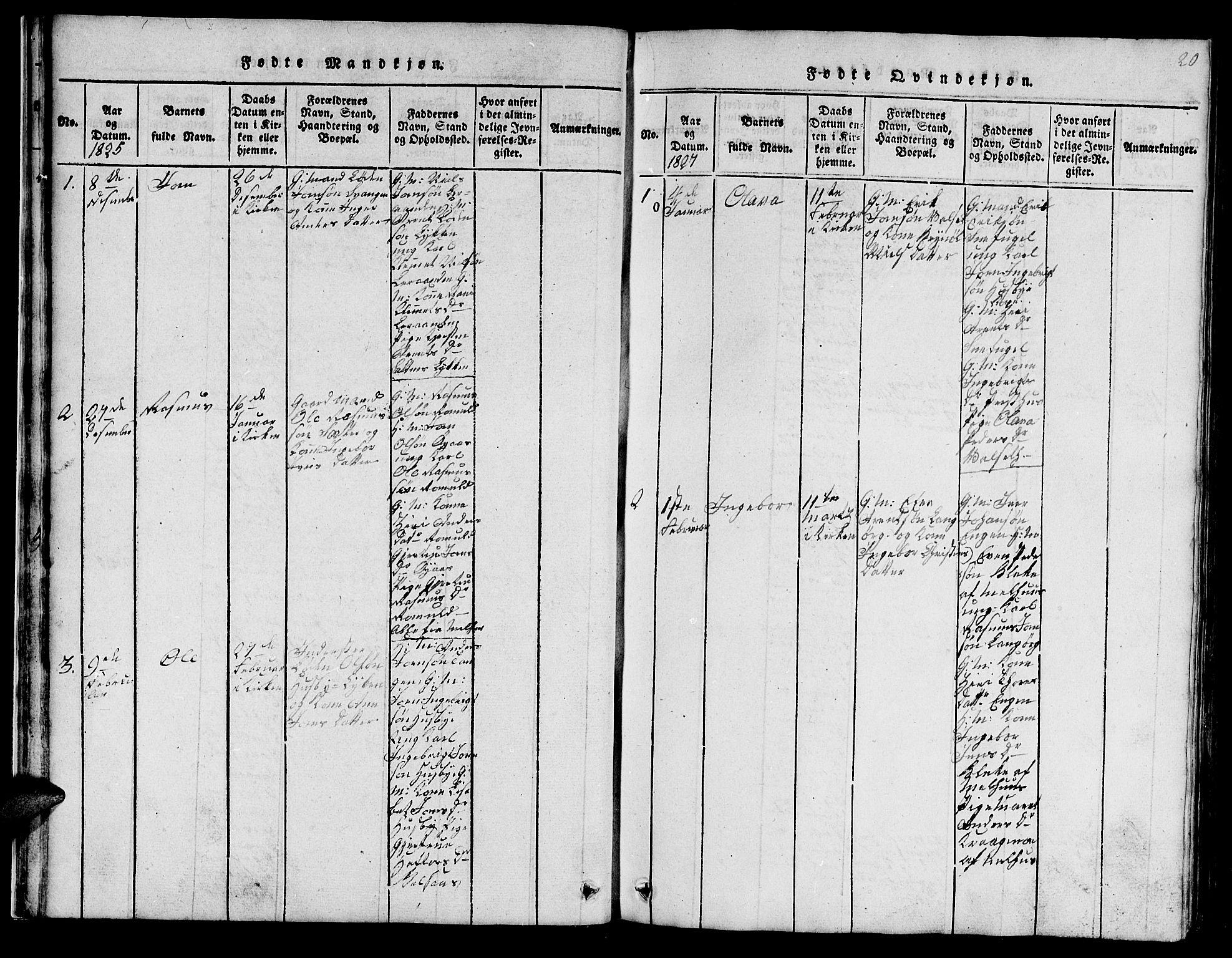 SAT, Ministerialprotokoller, klokkerbøker og fødselsregistre - Sør-Trøndelag, 666/L0788: Klokkerbok nr. 666C01, 1816-1847, s. 20