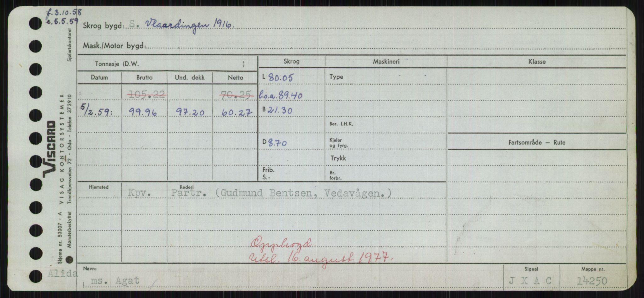 RA, Sjøfartsdirektoratet med forløpere, Skipsmålingen, H/Hd/L0001: Fartøy, A-Anv, s. 109