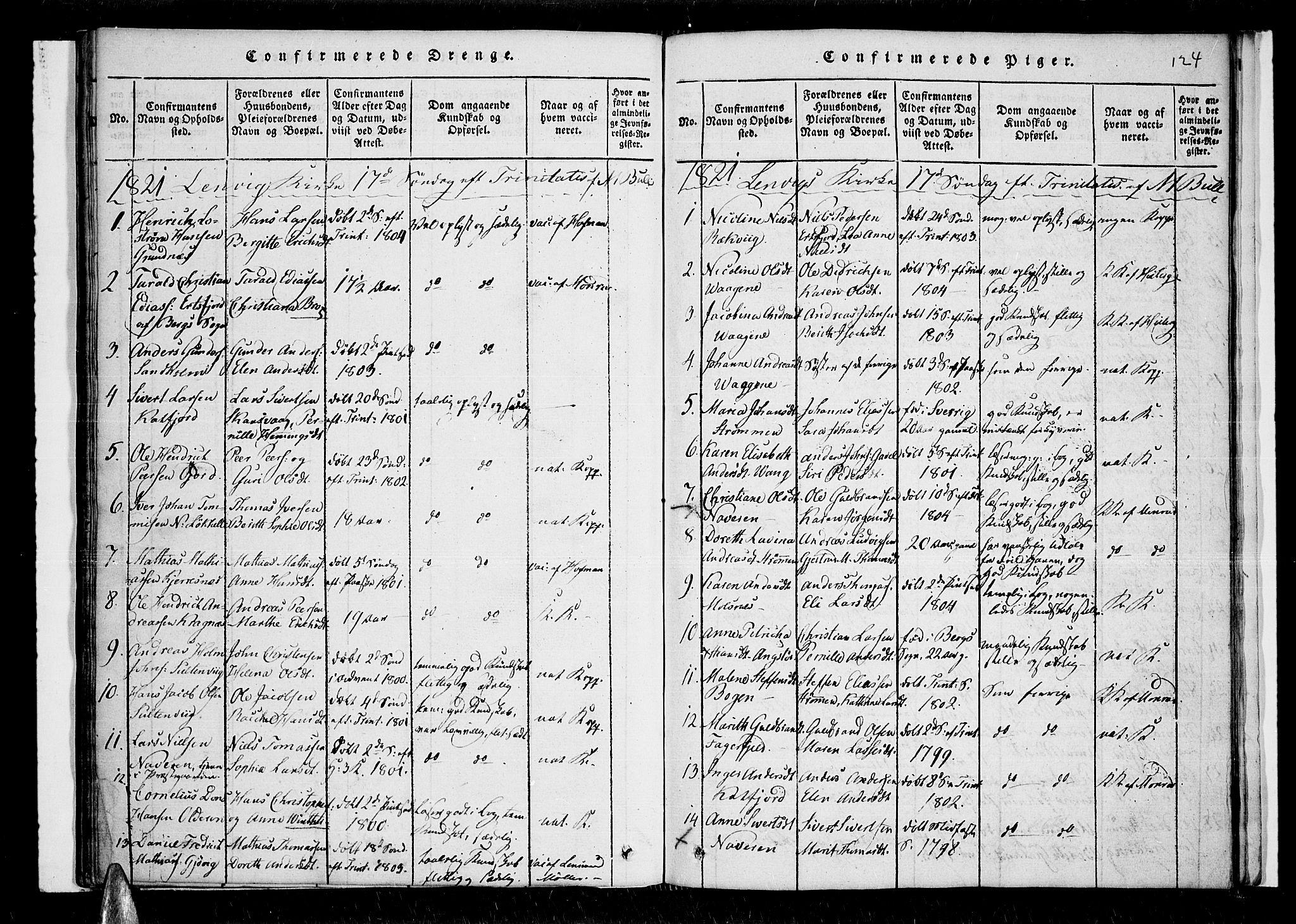 SATØ, Lenvik sokneprestembete, H/Ha: Ministerialbok nr. 3, 1820-1831, s. 124