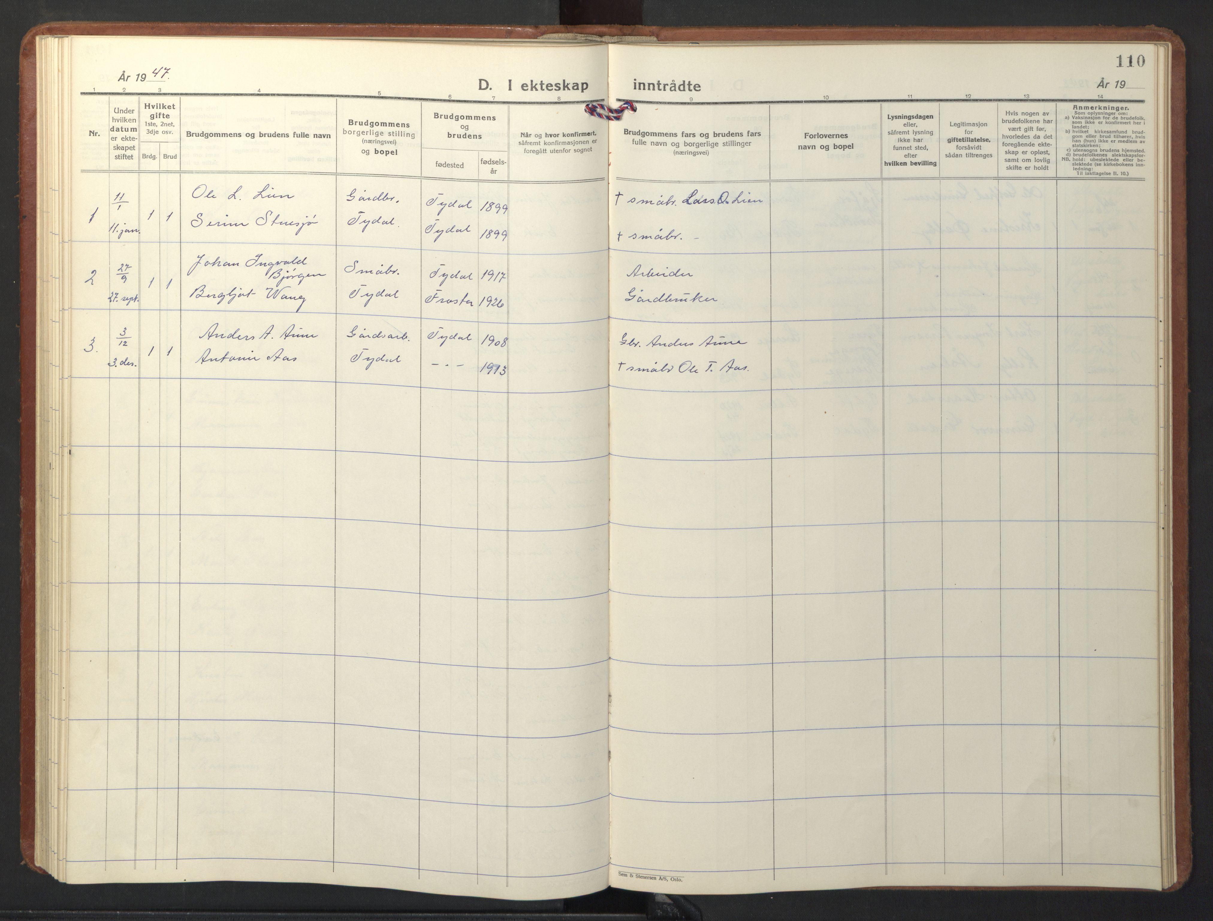 SAT, Ministerialprotokoller, klokkerbøker og fødselsregistre - Sør-Trøndelag, 698/L1169: Klokkerbok nr. 698C06, 1930-1949, s. 110