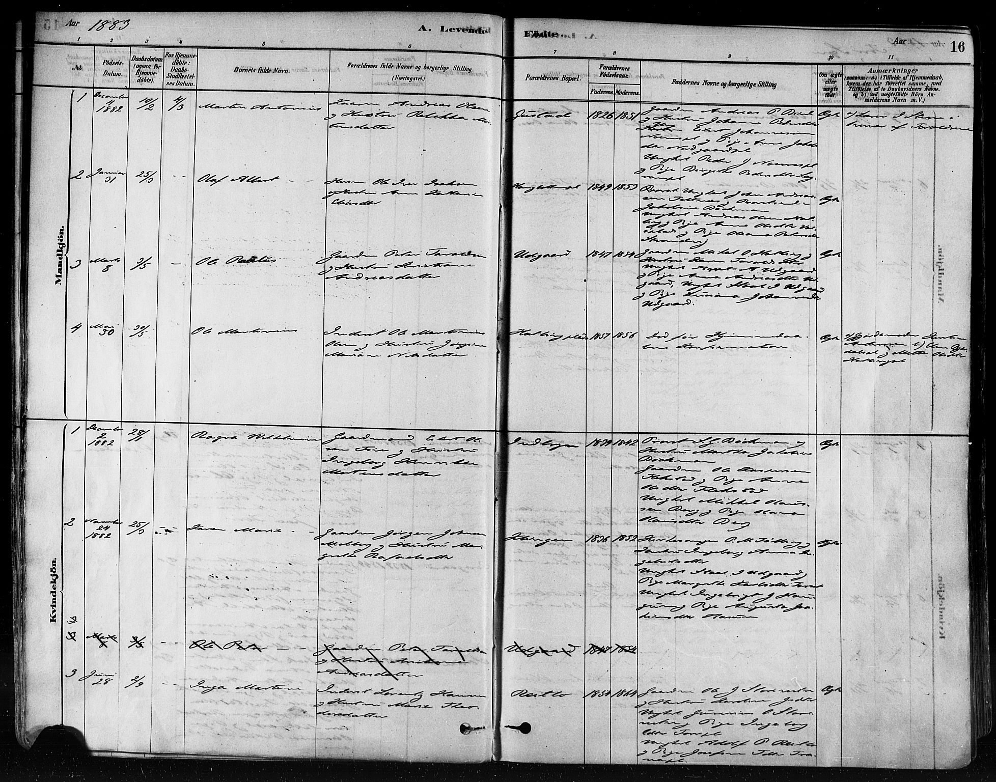 SAT, Ministerialprotokoller, klokkerbøker og fødselsregistre - Nord-Trøndelag, 746/L0448: Ministerialbok nr. 746A07 /1, 1878-1900, s. 16