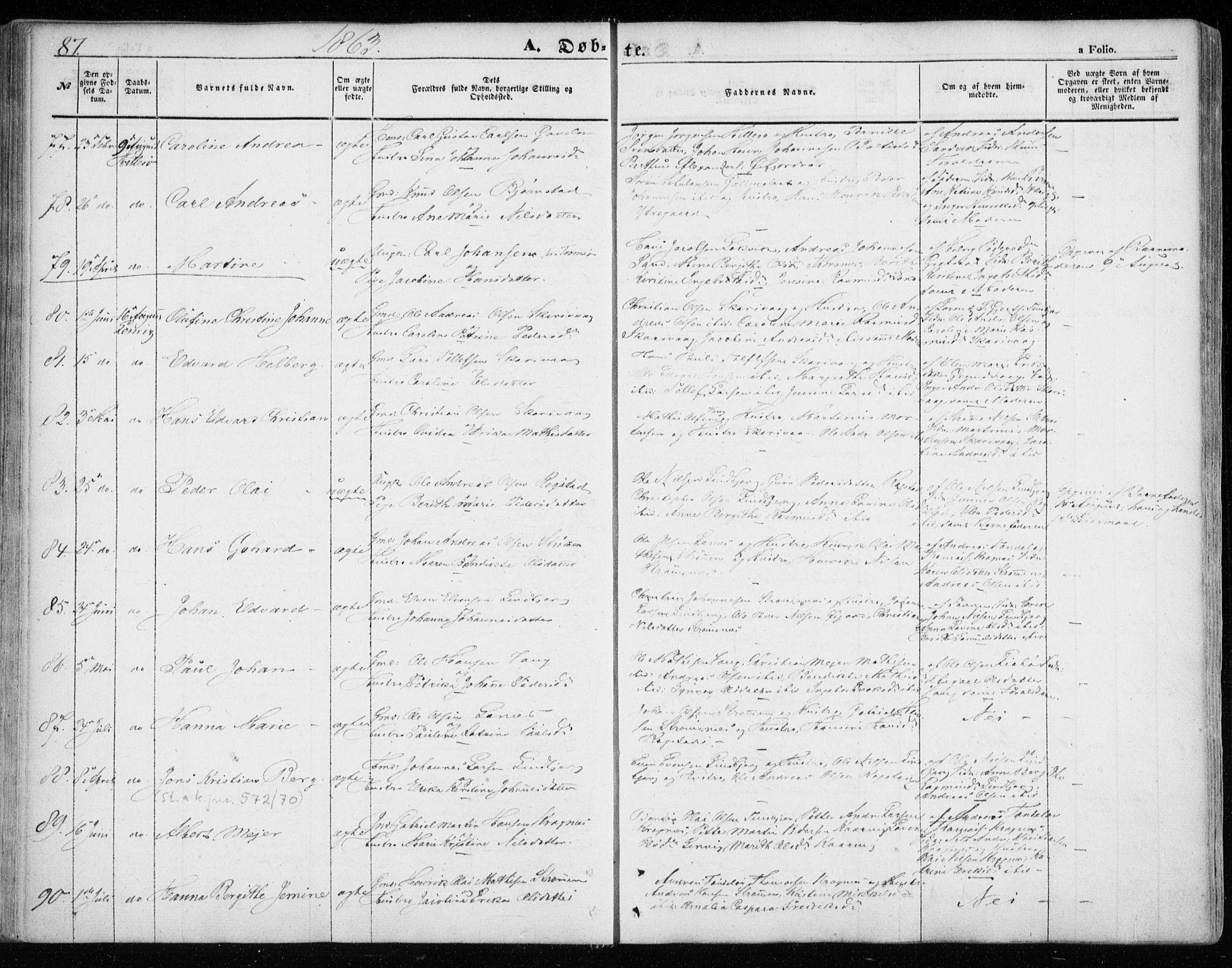 SATØ, Lenvik sokneprestembete, H/Ha/Haa/L0007kirke: Ministerialbok nr. 7, 1855-1865, s. 87