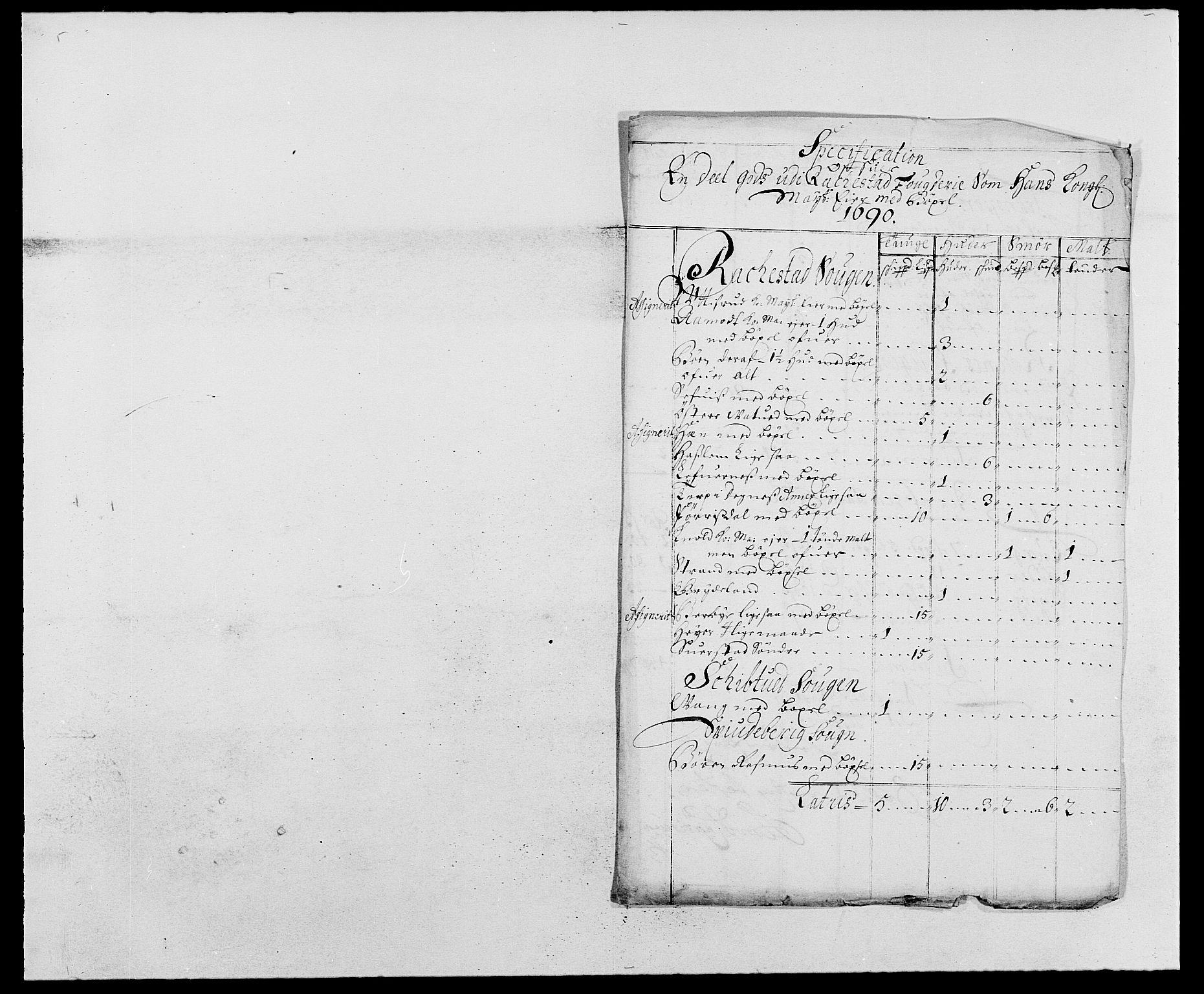 RA, Rentekammeret inntil 1814, Reviderte regnskaper, Fogderegnskap, R05/L0277: Fogderegnskap Rakkestad, 1689-1690, s. 187