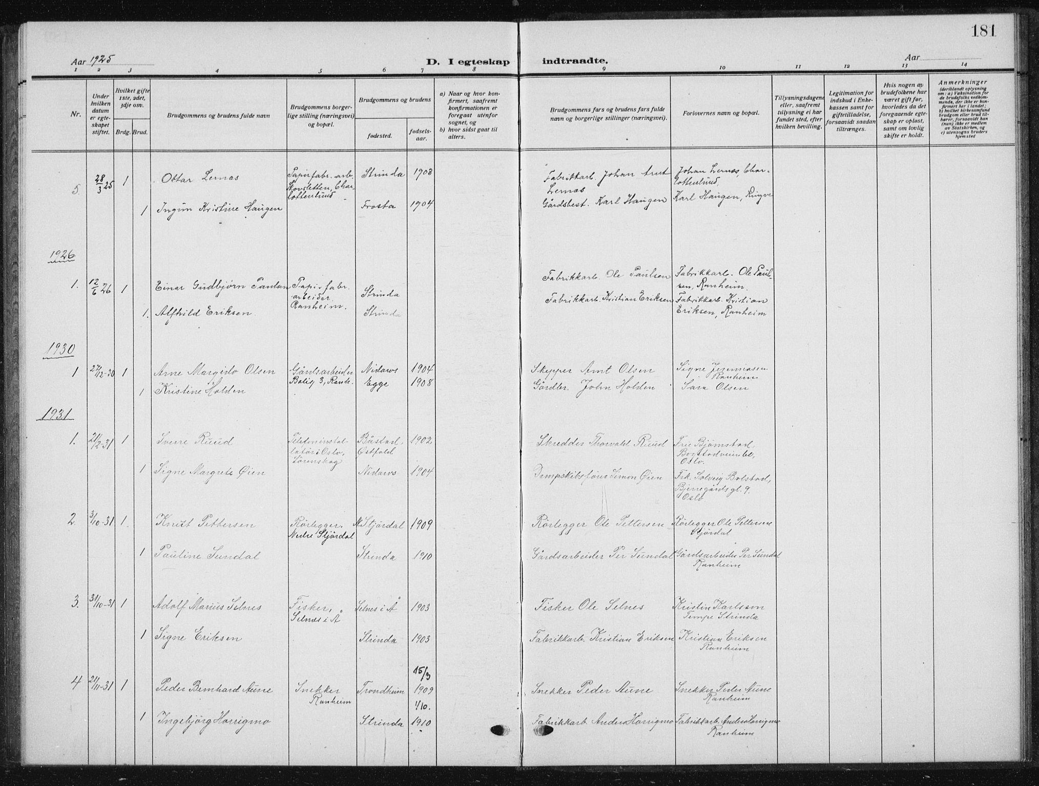SAT, Ministerialprotokoller, klokkerbøker og fødselsregistre - Sør-Trøndelag, 615/L0401: Klokkerbok nr. 615C02, 1922-1941, s. 181