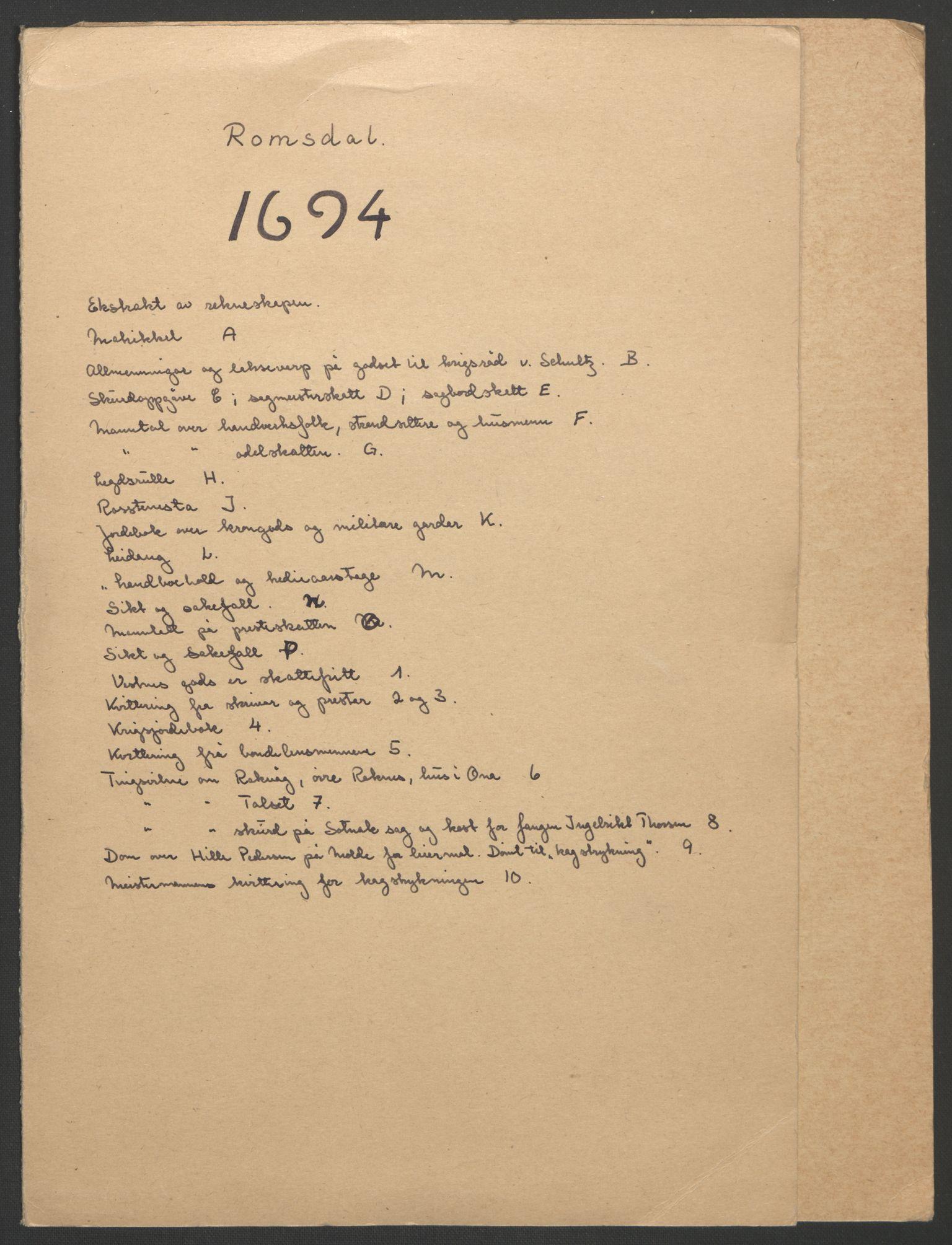 RA, Rentekammeret inntil 1814, Reviderte regnskaper, Fogderegnskap, R55/L3651: Fogderegnskap Romsdal, 1693-1694, s. 163