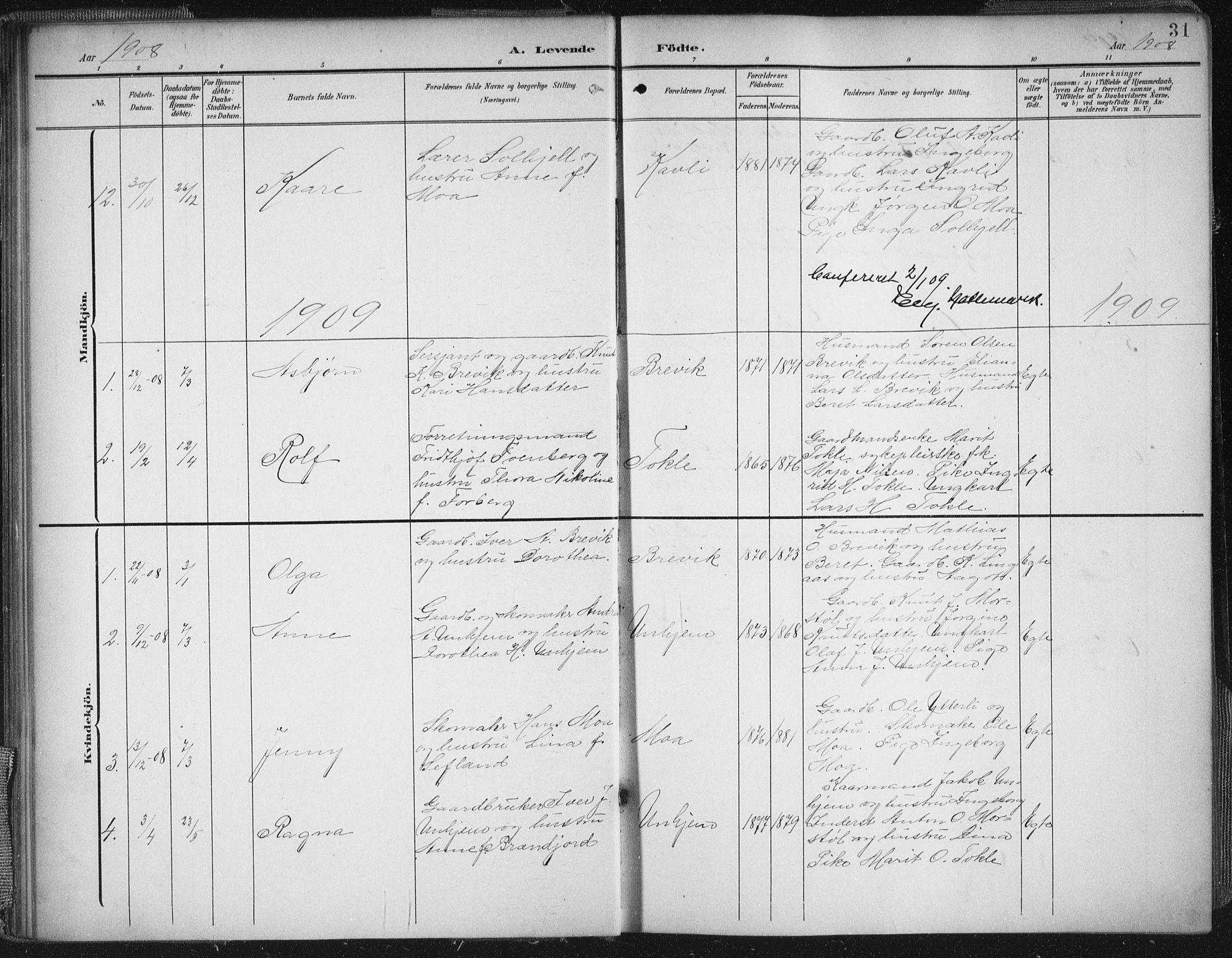 SAT, Ministerialprotokoller, klokkerbøker og fødselsregistre - Møre og Romsdal, 545/L0589: Klokkerbok nr. 545C03, 1902-1937, s. 31