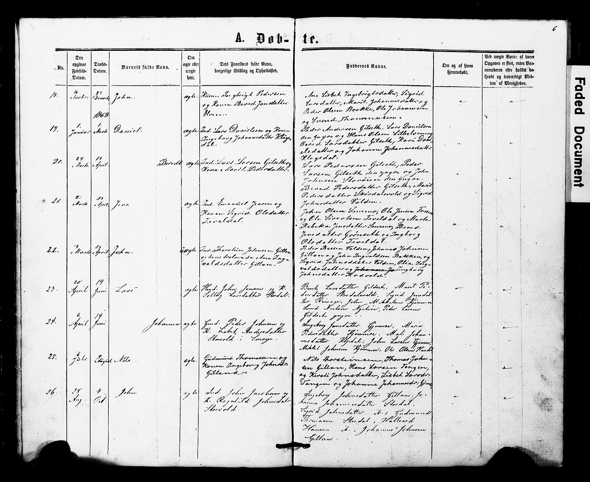 SAT, Ministerialprotokoller, klokkerbøker og fødselsregistre - Nord-Trøndelag, 707/L0052: Klokkerbok nr. 707C01, 1864-1897, s. 6