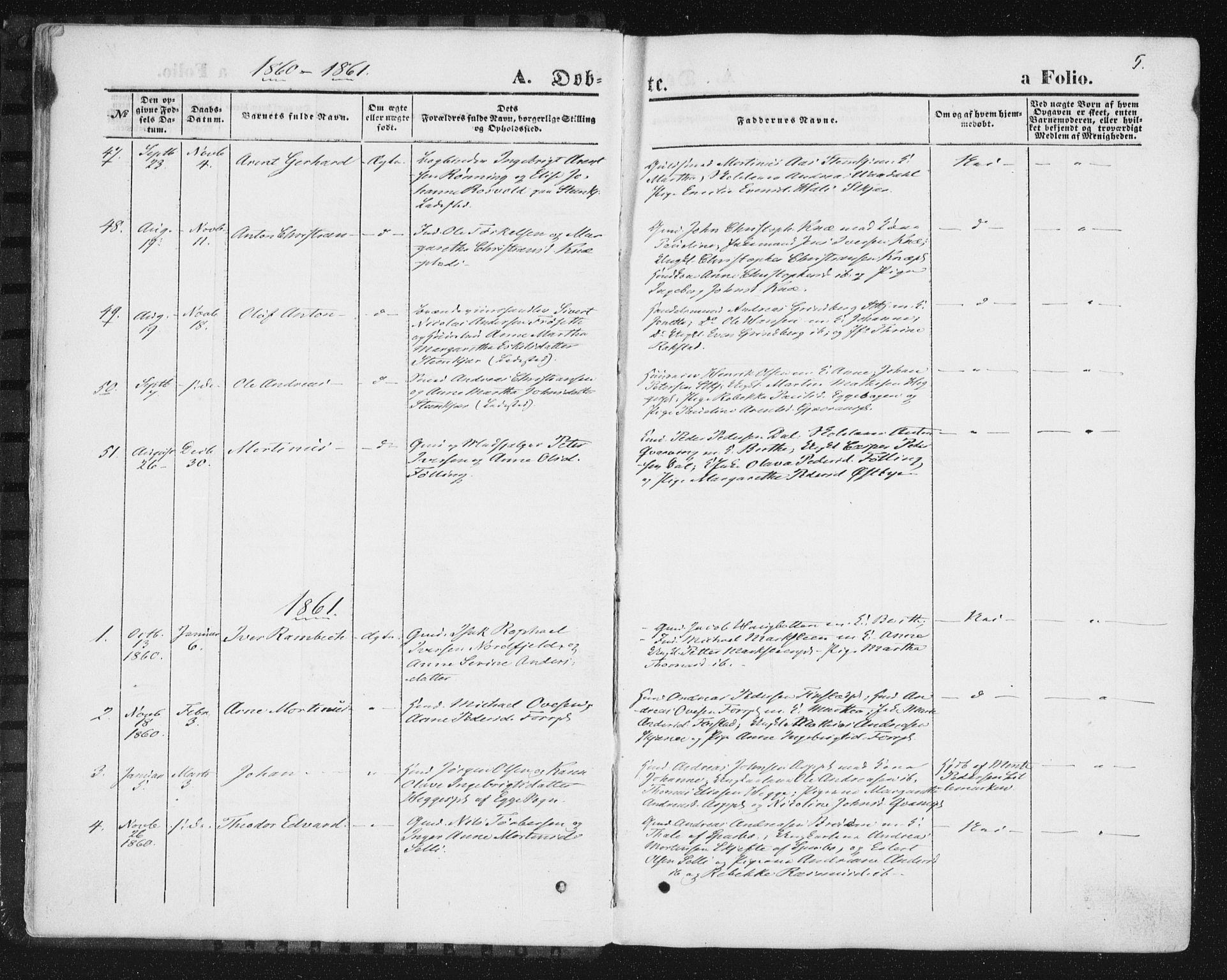 SAT, Ministerialprotokoller, klokkerbøker og fødselsregistre - Nord-Trøndelag, 746/L0447: Ministerialbok nr. 746A06, 1860-1877, s. 5