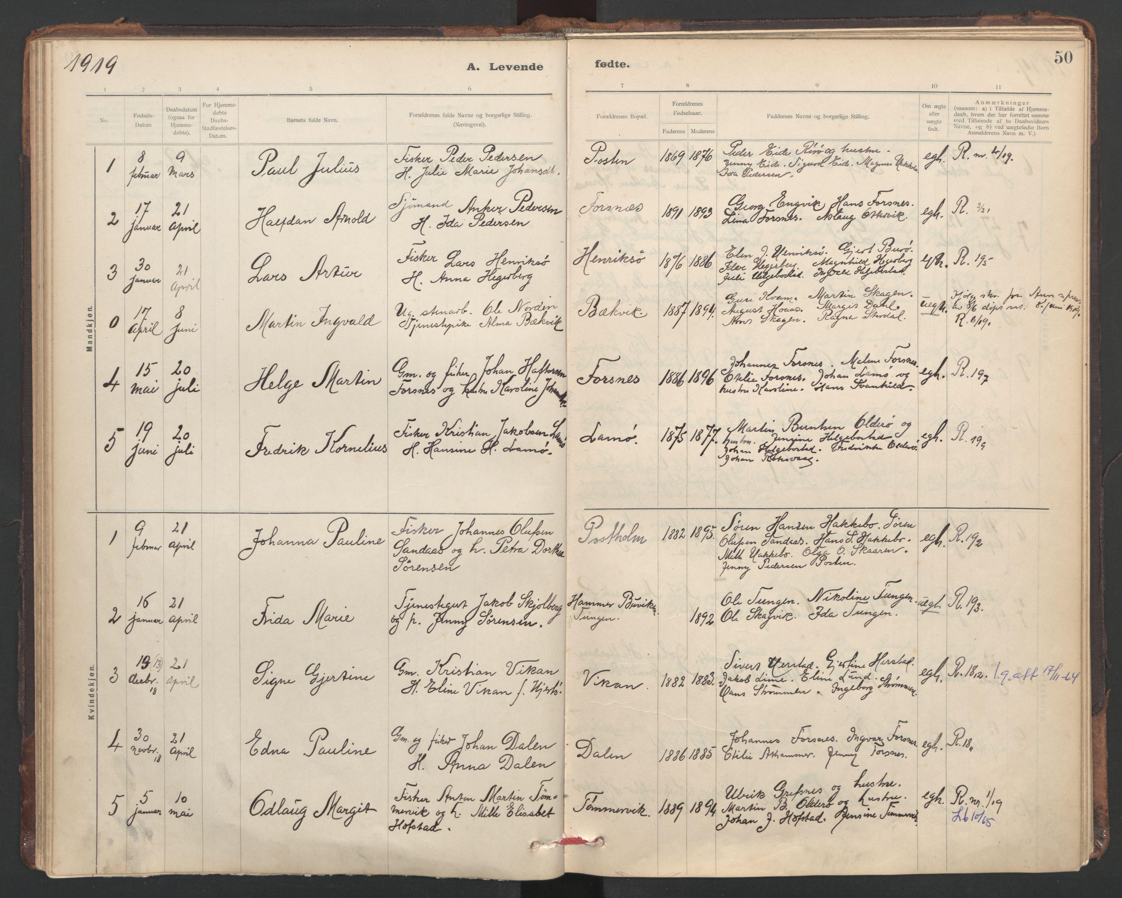 SAT, Ministerialprotokoller, klokkerbøker og fødselsregistre - Sør-Trøndelag, 635/L0552: Ministerialbok nr. 635A02, 1899-1919, s. 50