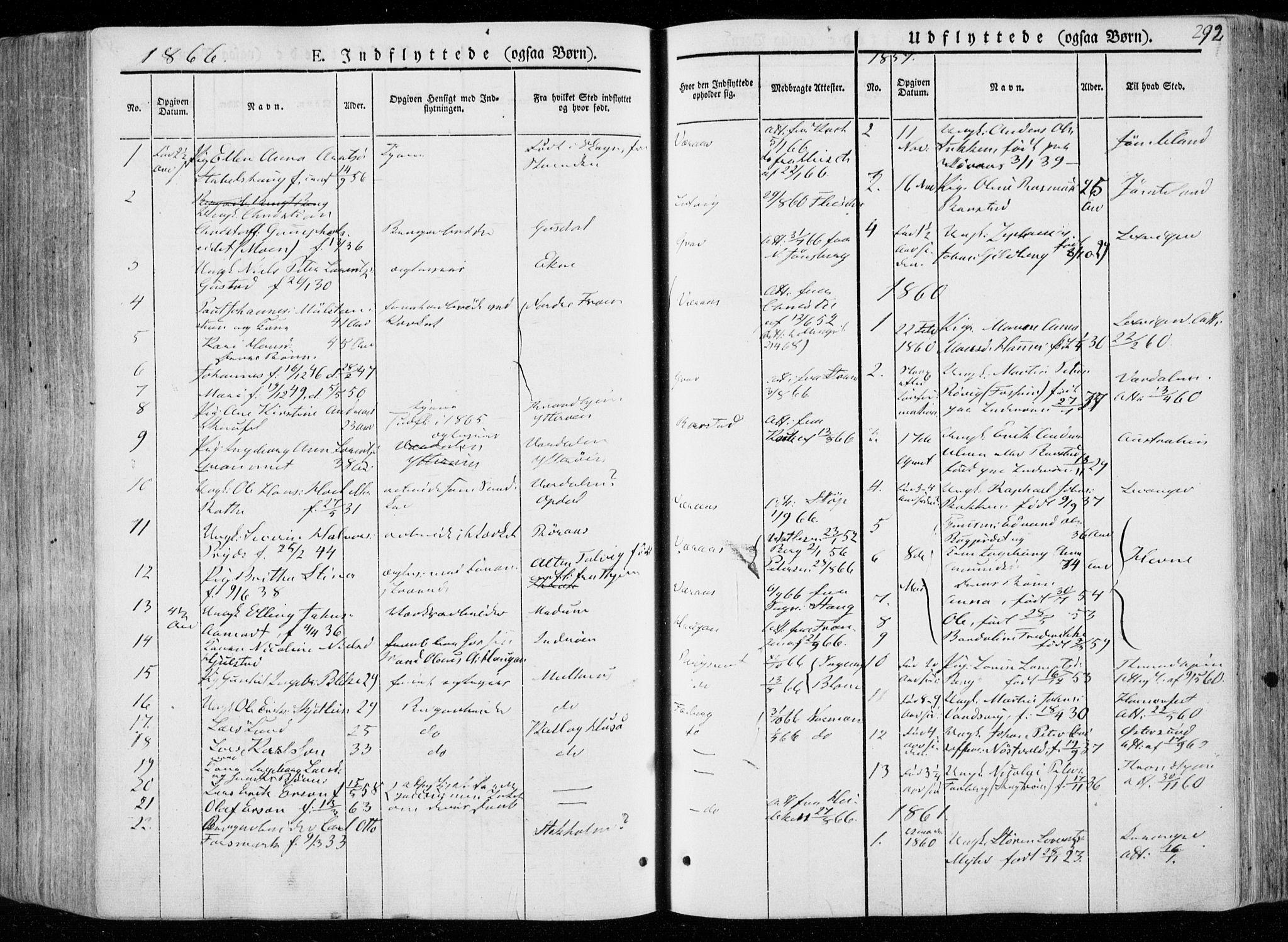 SAT, Ministerialprotokoller, klokkerbøker og fødselsregistre - Nord-Trøndelag, 722/L0218: Ministerialbok nr. 722A05, 1843-1868, s. 292