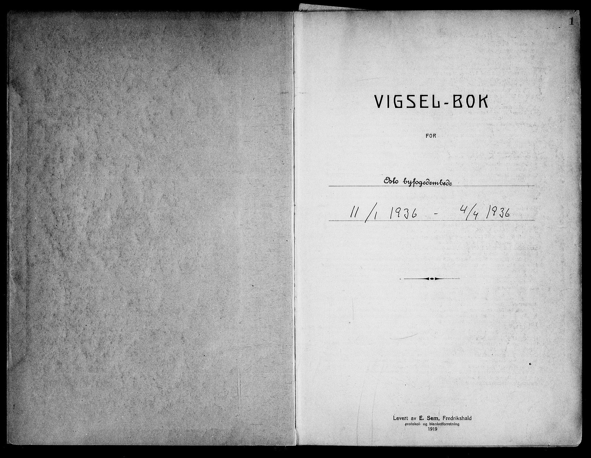 SAO, Oslo byfogd avd. I, L/Lb/Lbb/L0026: Notarialprotokoll, rekke II: Vigsler, 1936, s. 1a